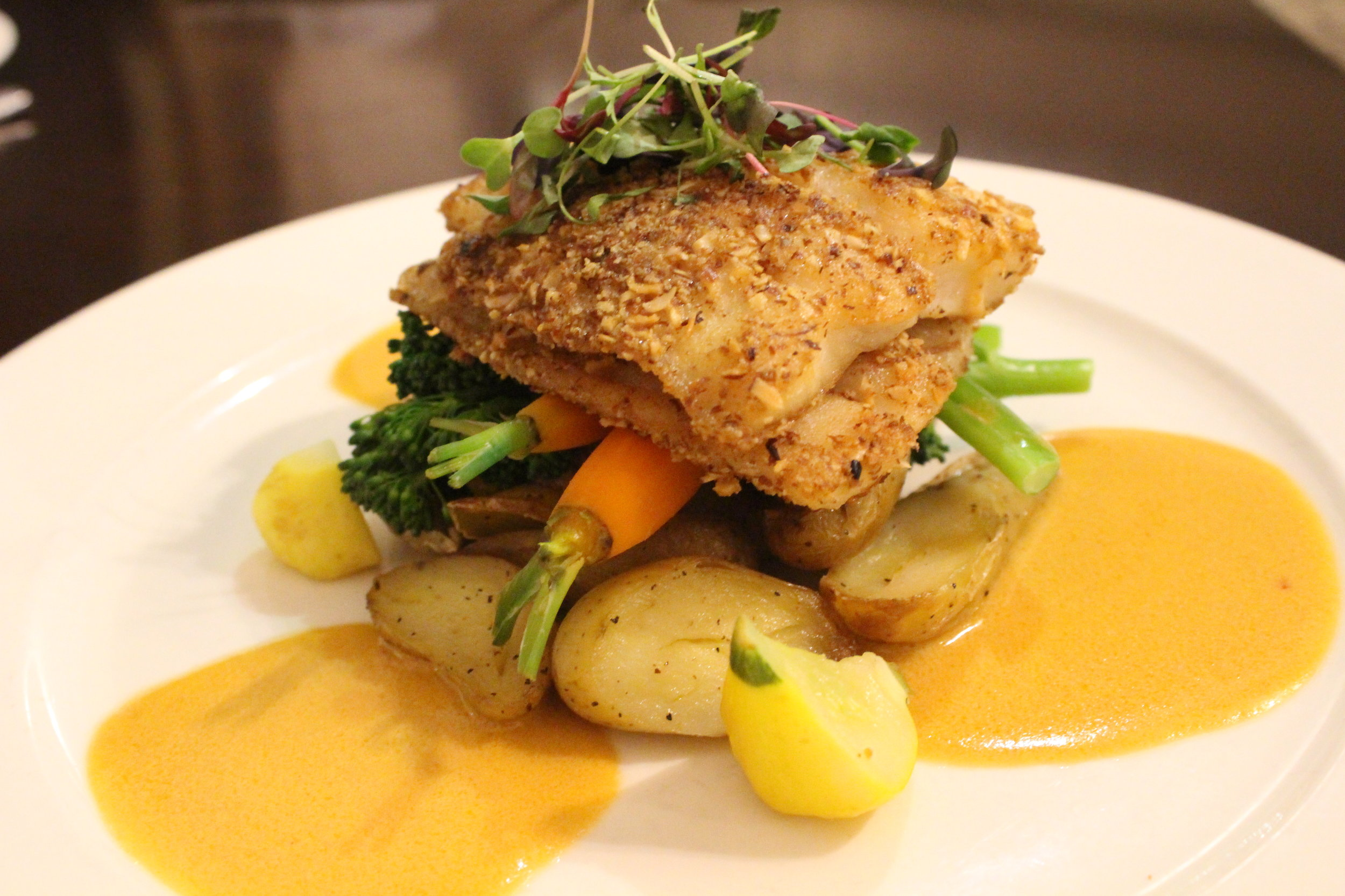 Almond crusted Butterfish at The Shores Restaurant in La Jolla