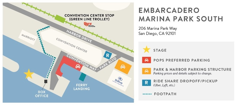 Directions to the San Diego Bayside Concerts - Near Seaport Village and the Convention Center