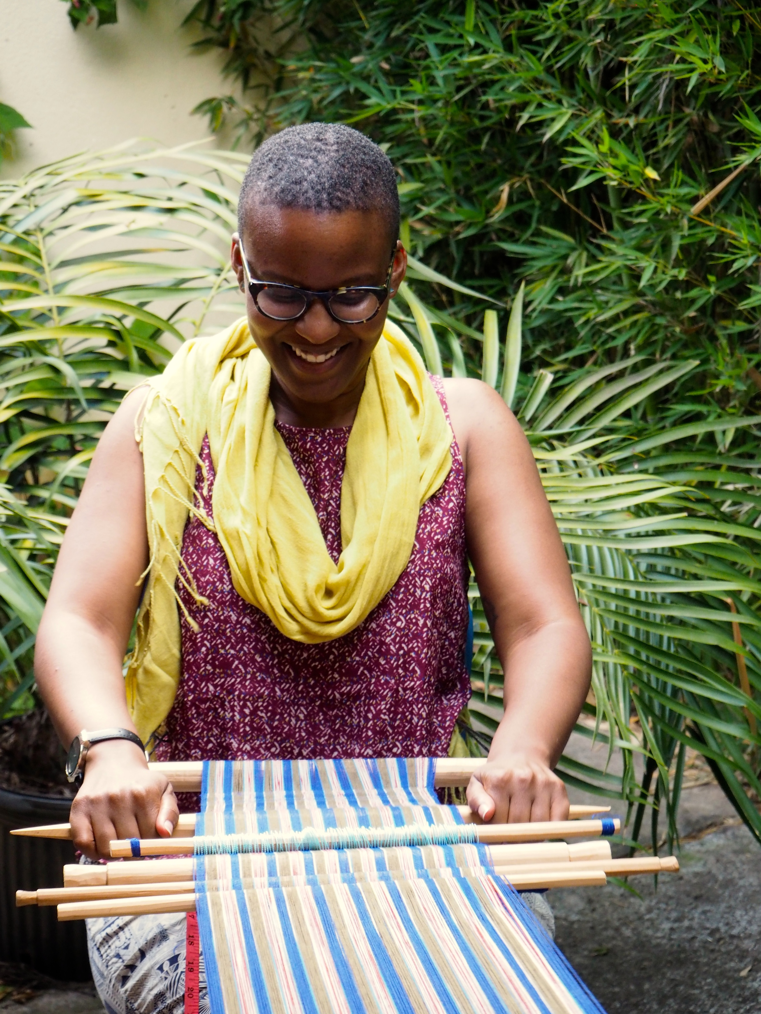 Amber Hooks Thread Caravan weaving