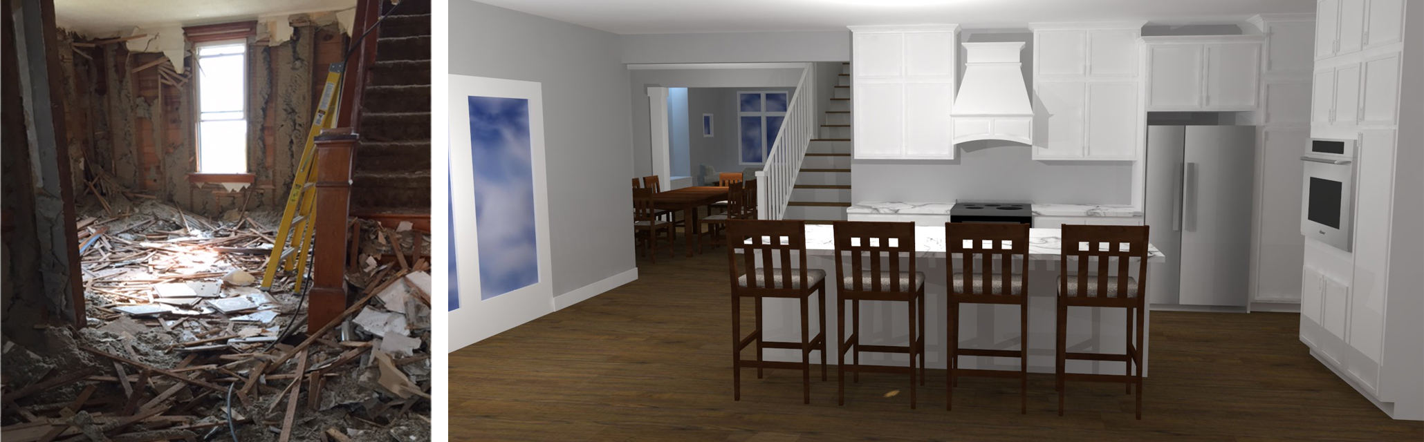 the image on the left shows the start of demolition. the image on the right is our rendering from the same perspective showing the new kitchen and staircase.
