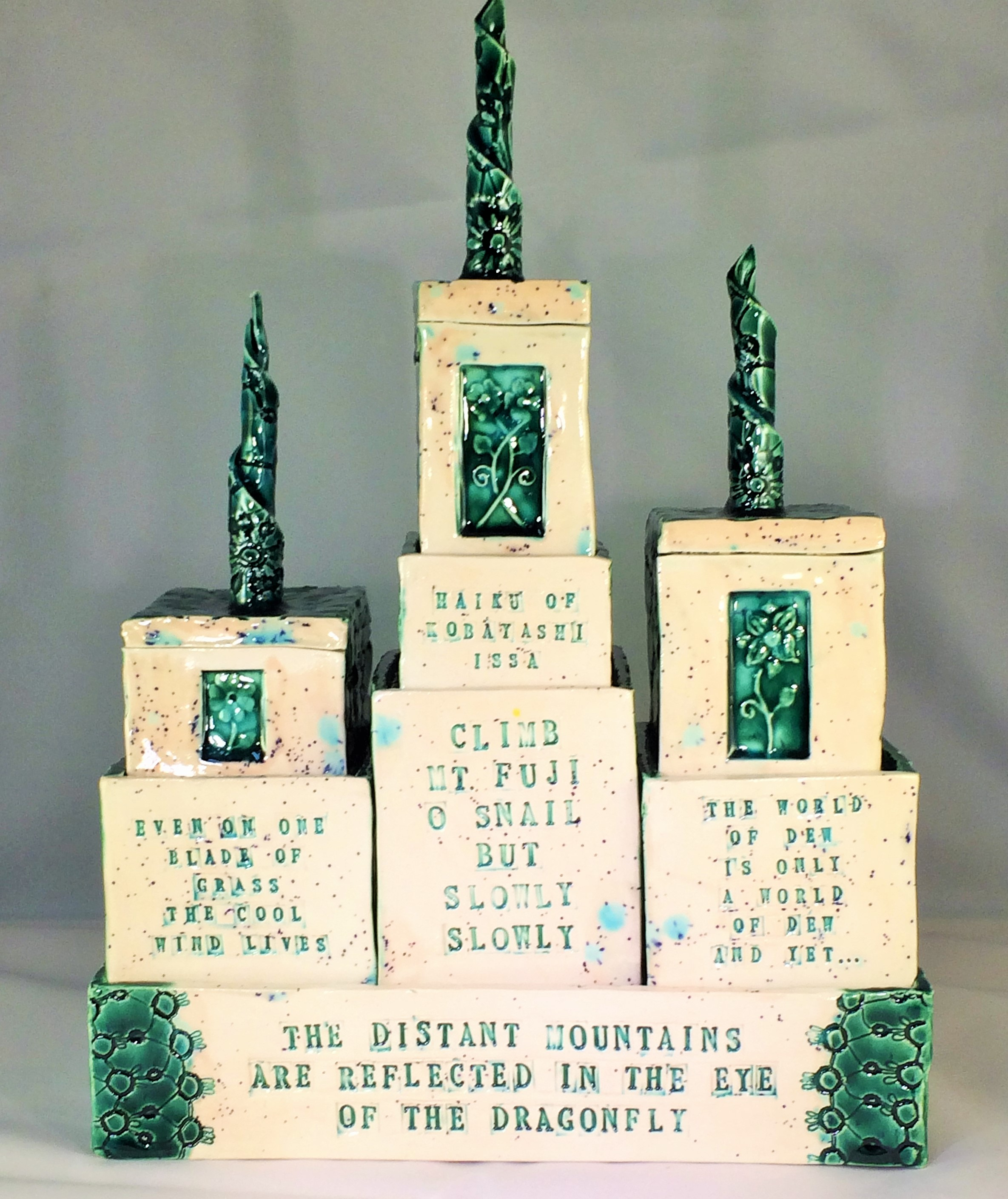 This is the second piece that will be in the gallery. It is a series of boxes with different haiku from Kobayashi Issa.