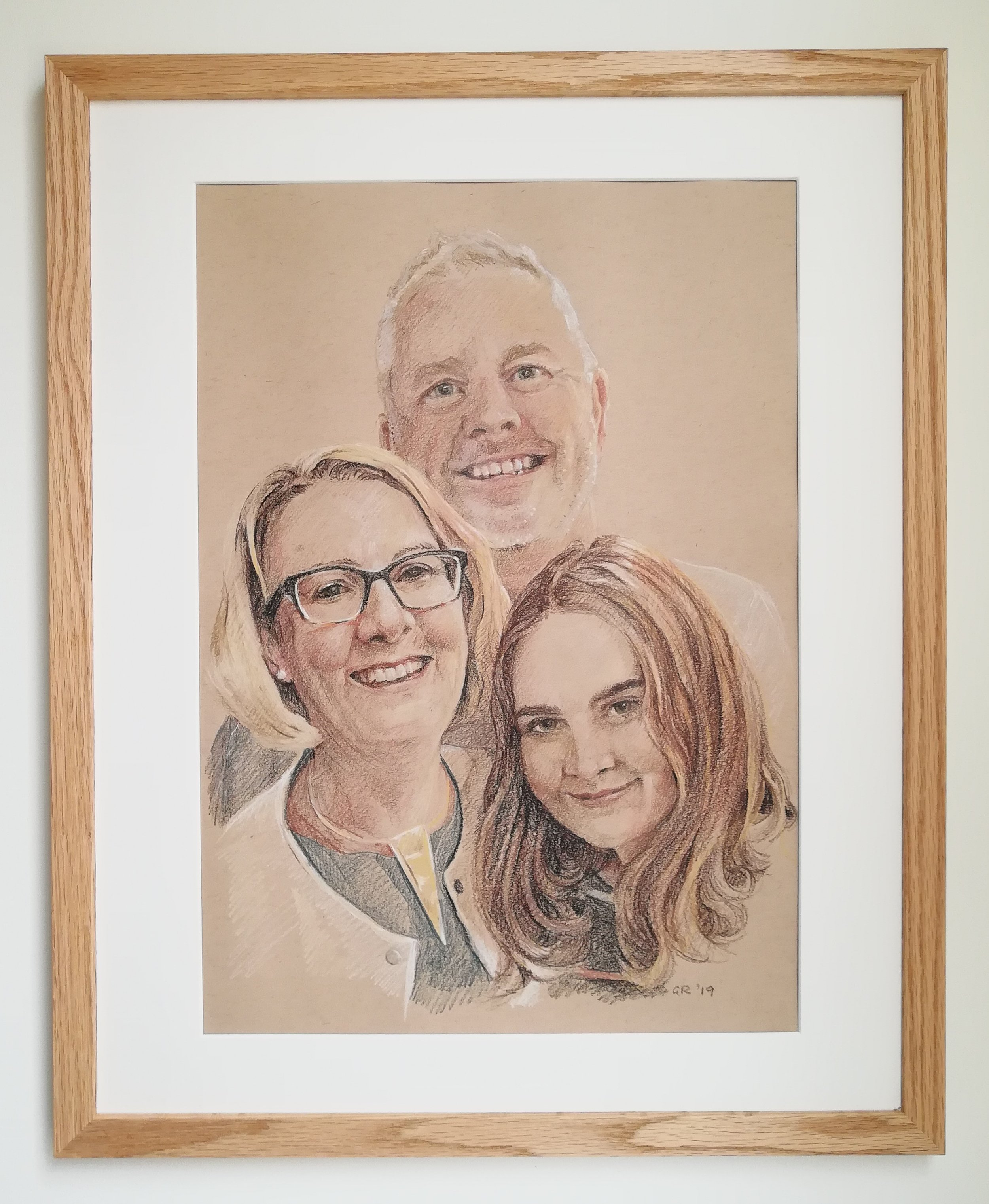 Coloured pencil people from combined photos