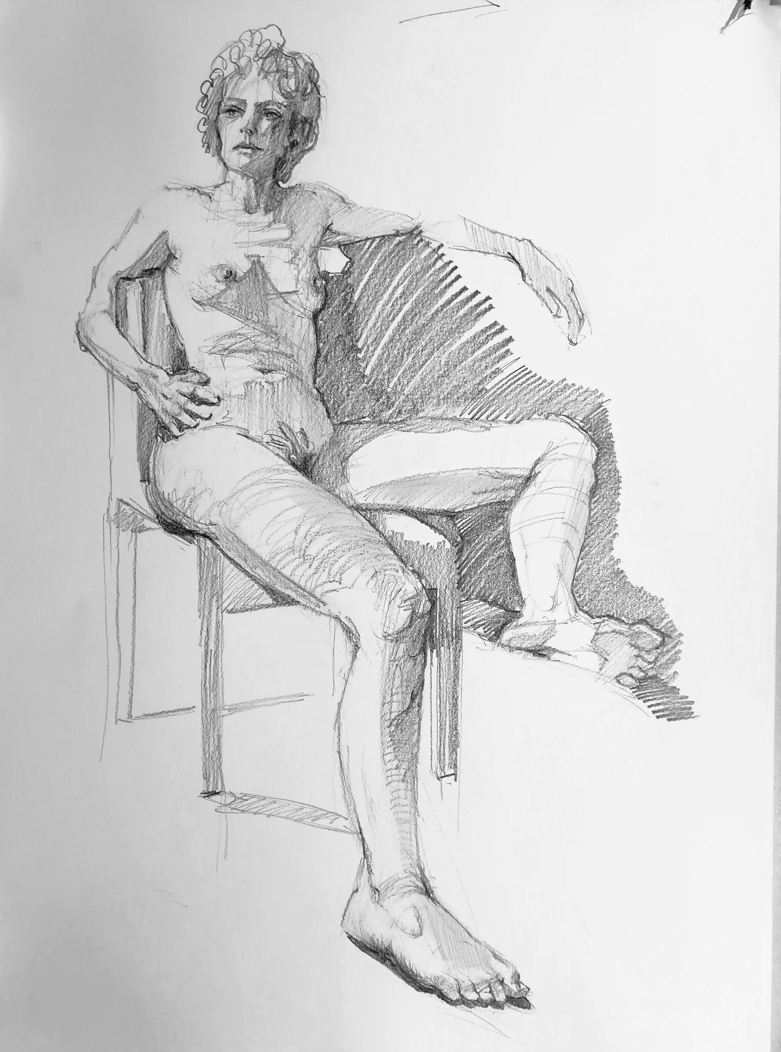 Graphite pencil life drawing