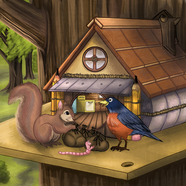 Illustration page forWiggly Waggly Worm children's book, written by Doug C. Pearson.