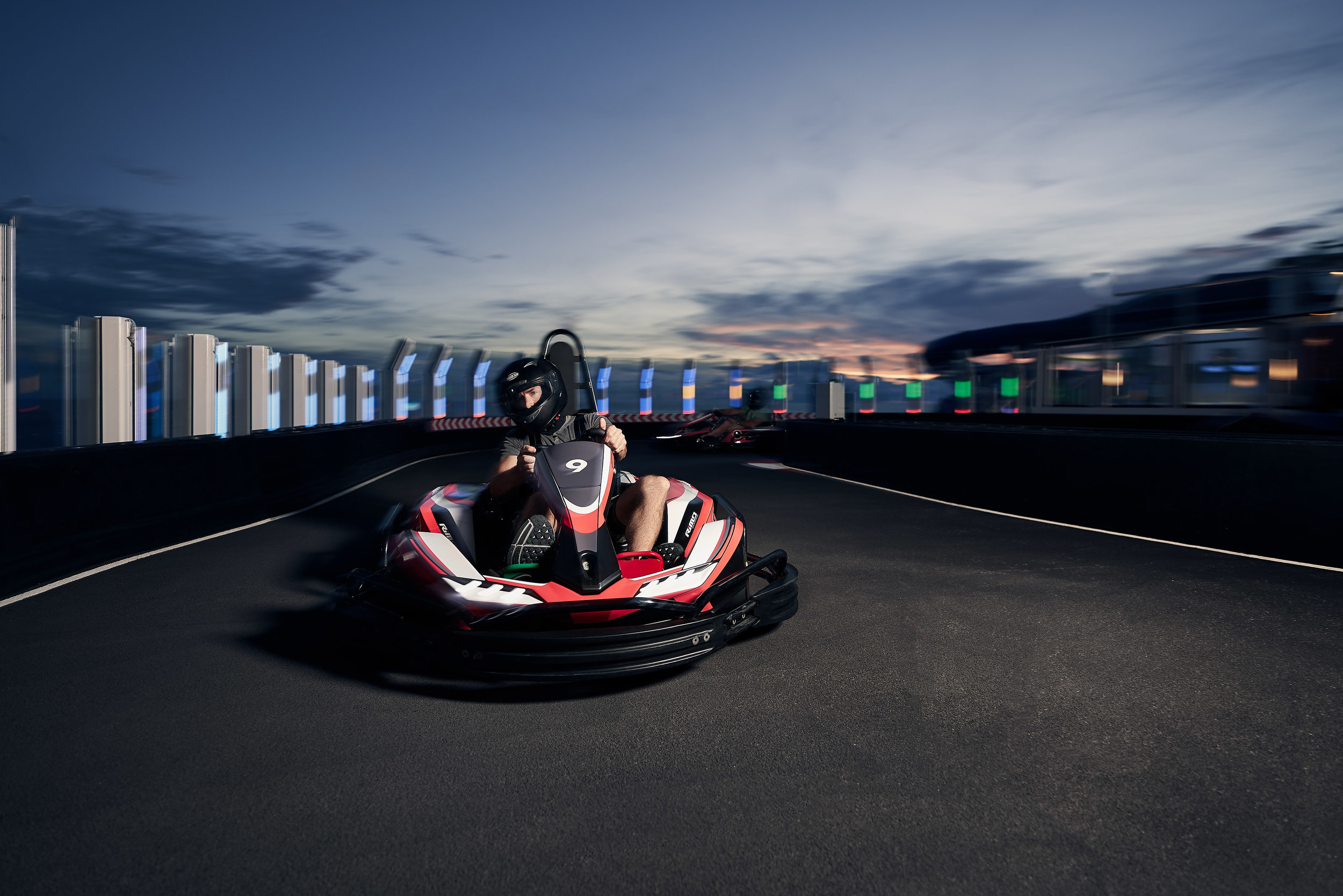 The Go Kart Track on the Norwegian Bliss. Probably the most fun photo I took as my client was driving and I was snapping away. My assistant was on foot running around with the strobe. Made for a wild experience! I had my shutter speed set a little lower here to create bit of motion blur while the strobe made sure my subject stayed sharp. I have the say that the focus tracking on the Sony A7riii did a hell of a job with all the movement! Fun fact, the guy driving the kart in this photo is Joe Simon, the Director of Photography for the last season of The Wonder List!