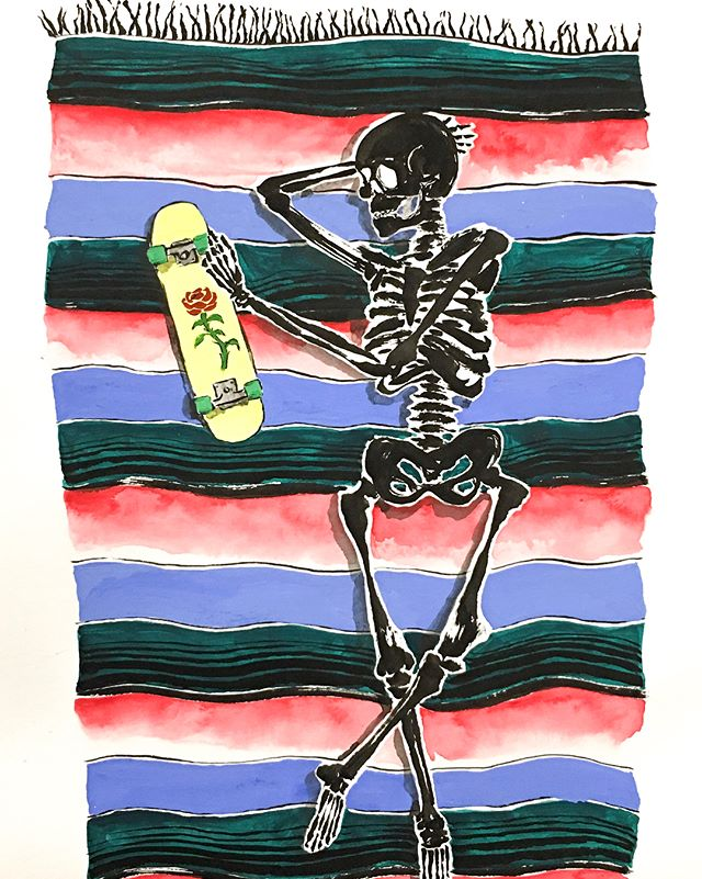 Dope piece at the Art Center Gallery by Chuy Hartman. 💀 #sarape#skateanddestroy#skateboarding#skull#watercolor#mexican#rose#art#arte#artcenter#chuyhartman#artist#style#chillin#skate