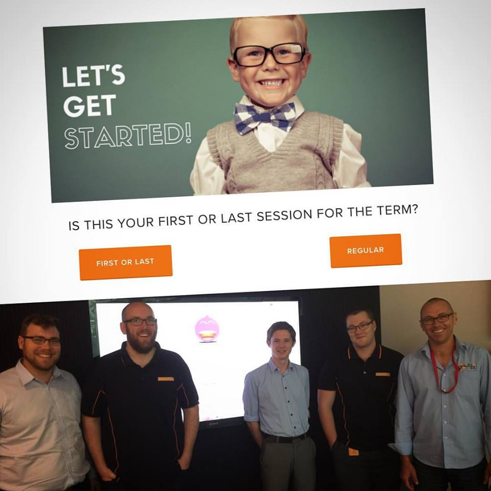 12 Buckets new login/logout app (above) and CEO Travis Fitch with the developers at Bankwest