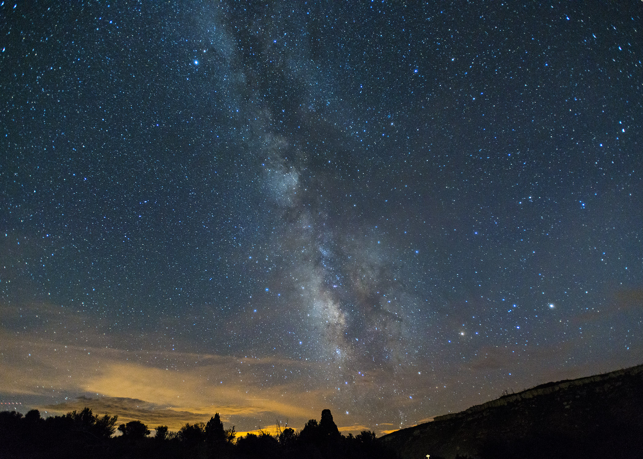 Milky Way over Mesa Verde National Park.  Nikon D800, 17-35mm lens, ISO 2500, f 2.8, 15 seconds