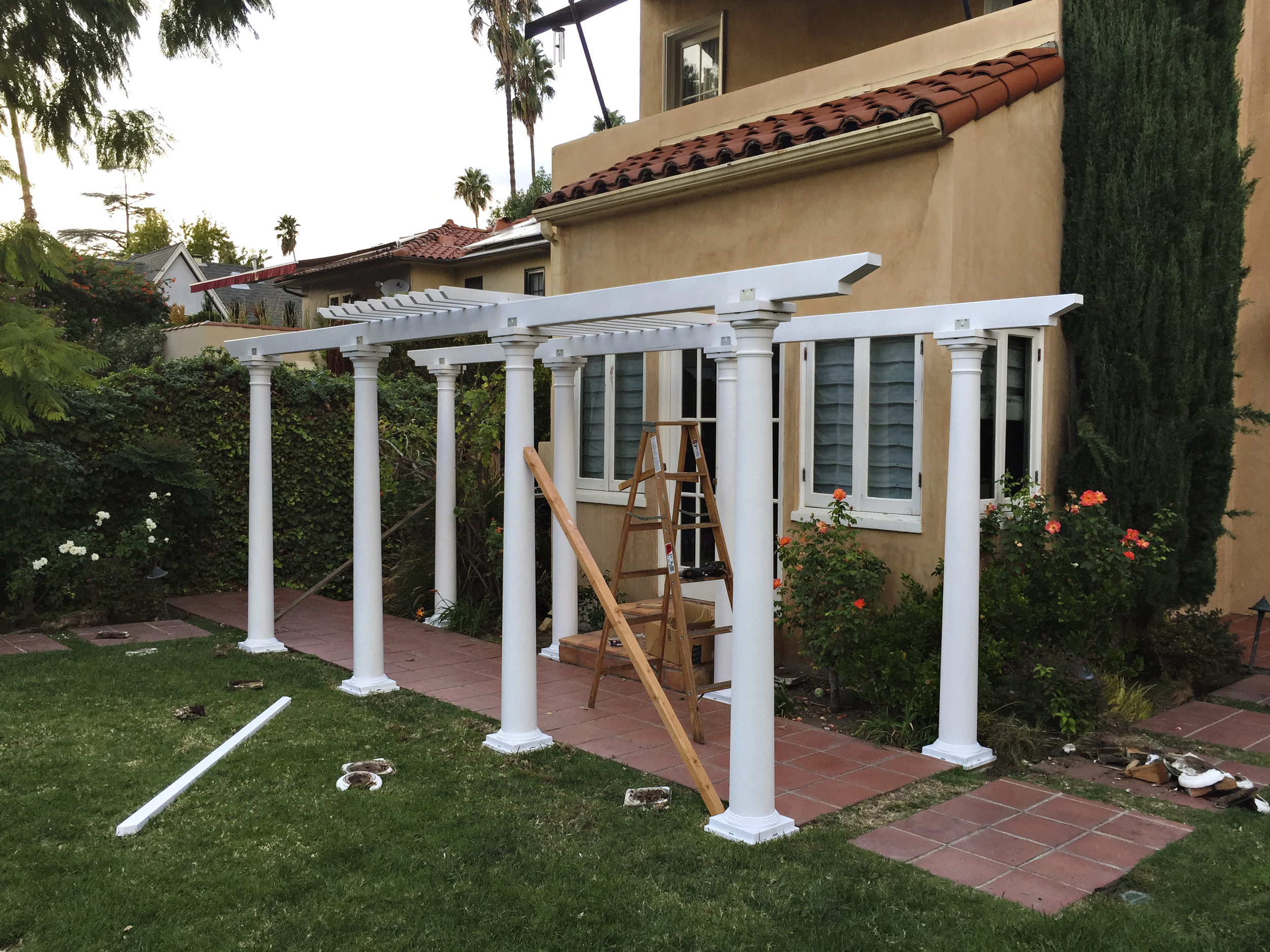 My pergola project is nearly complete.  Lifting a 20' 2x6 over my head was worth a month at the gym.  iPhone 6.