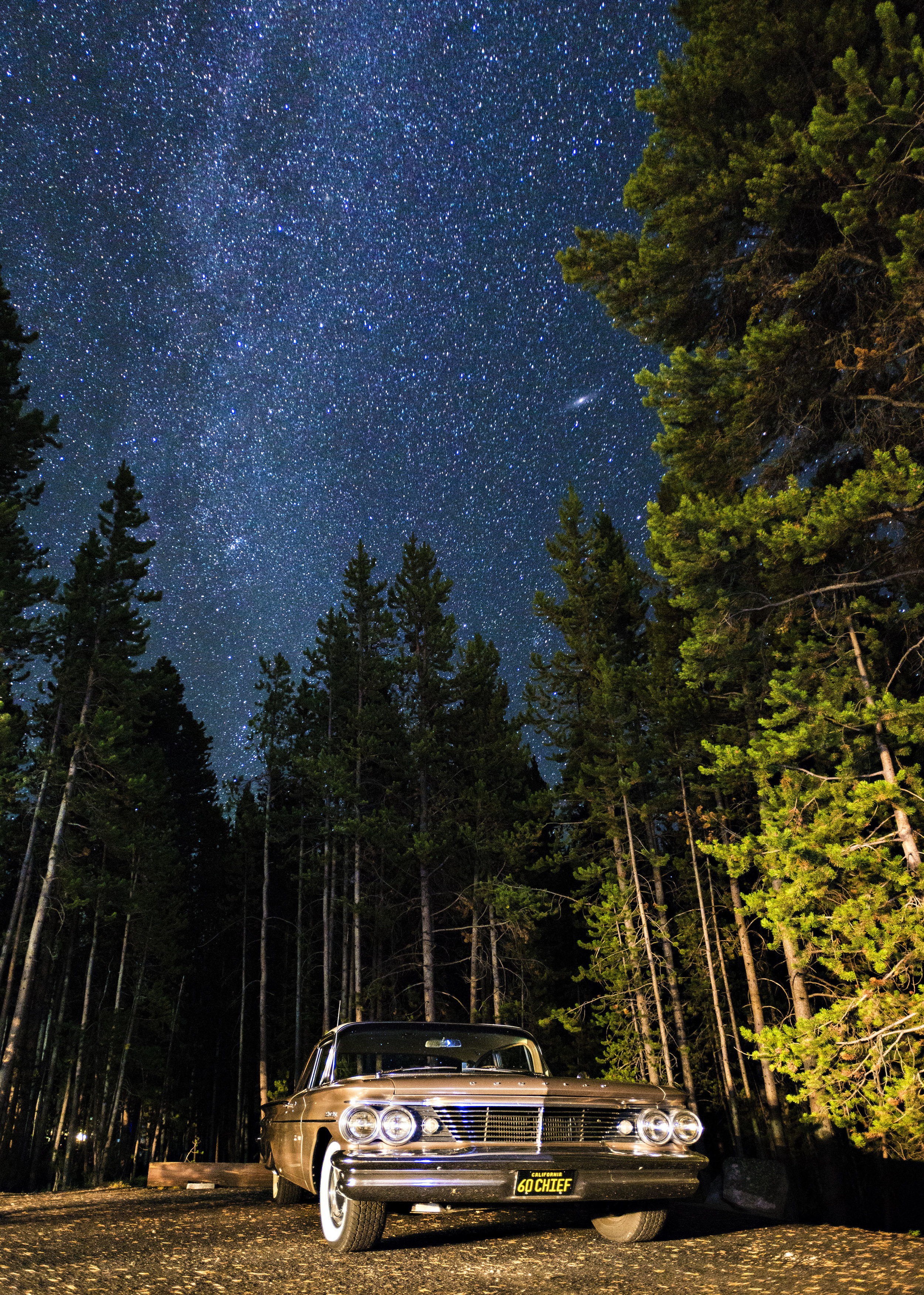Milky Way and the Andromeda Galaxy setting above our campsite at Canyon Village in Yellowstone National Park. There are few darker spots in the lower 48 than Yellowstone. Just amazing. Nikon D800, Nikkor 17-35mm lens @ 17mm, ISO 2000, f2.8, 25sec.