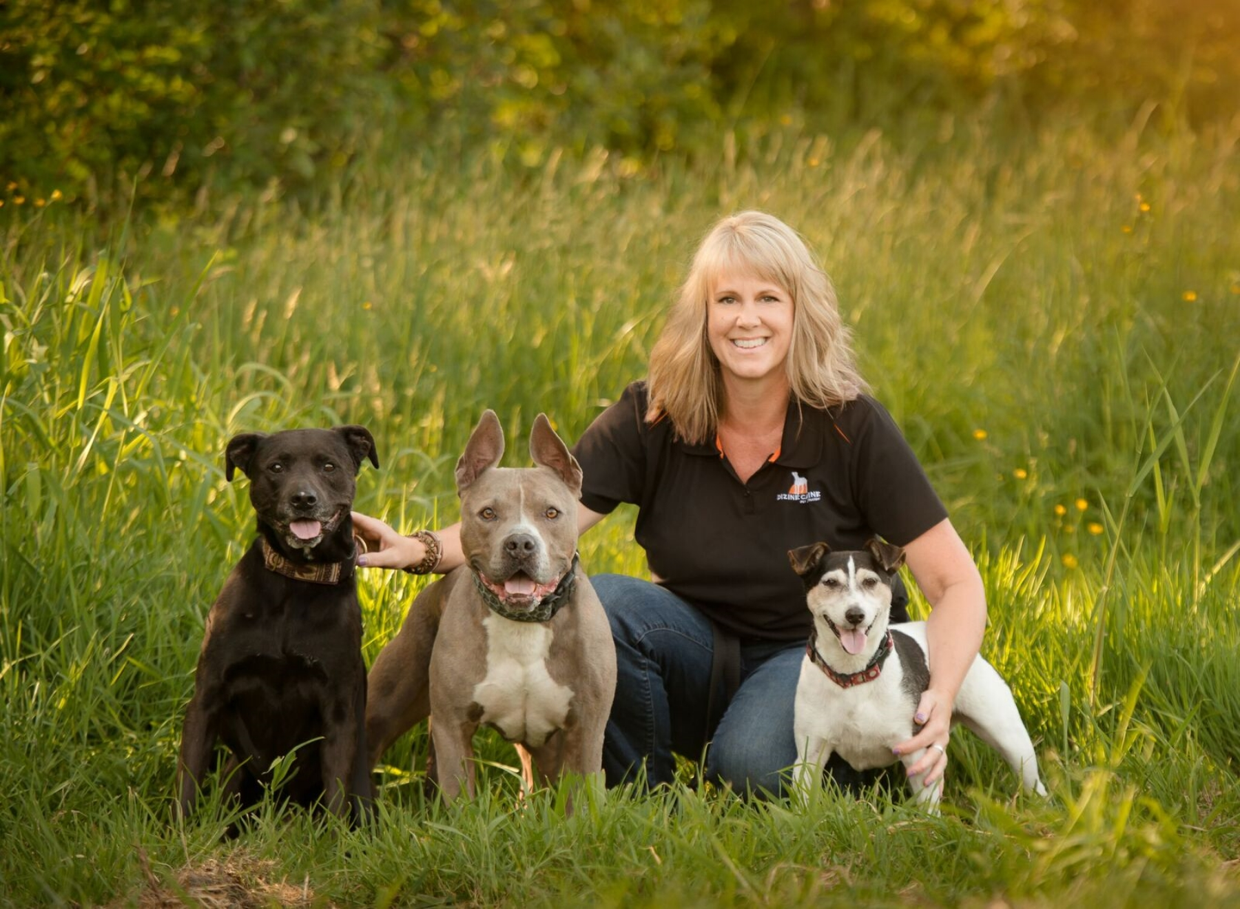 Shelagh with her three rescues, Bailey, Bugsy and Sammy.