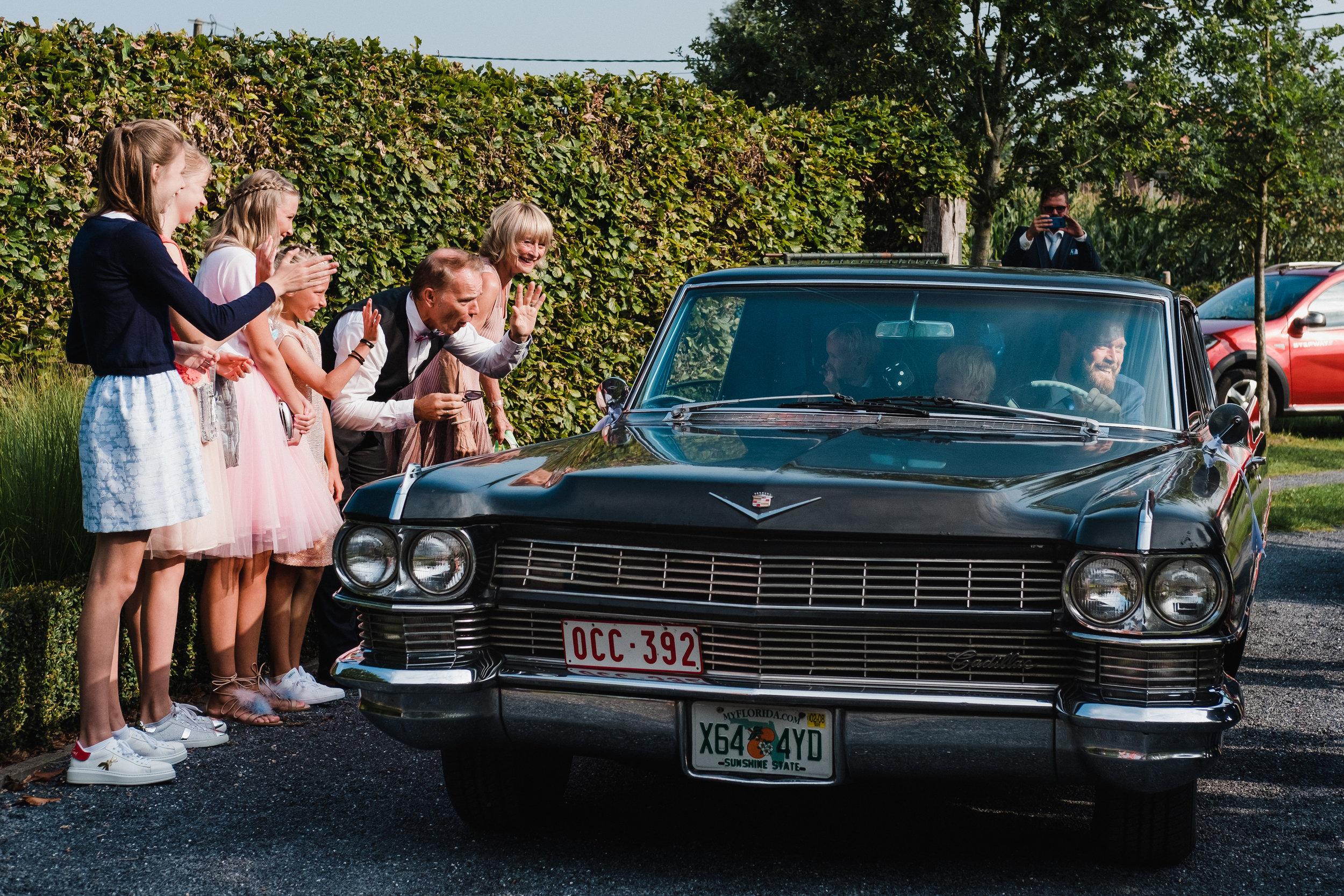 groom arriving car