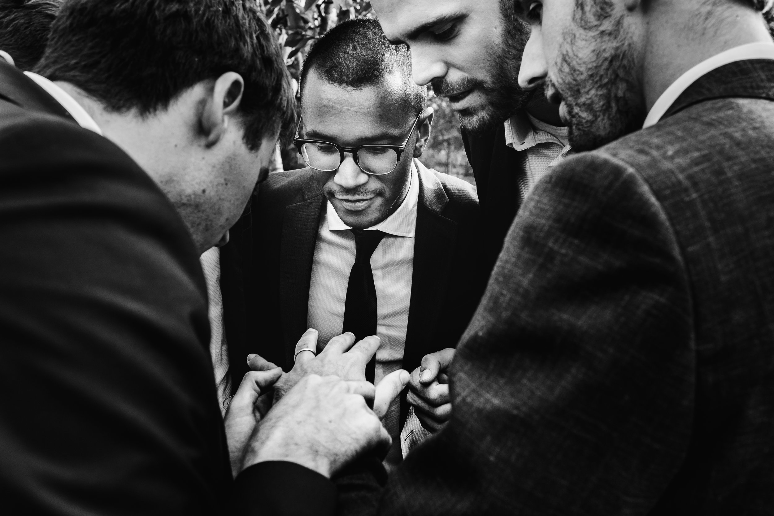 looking at groom's ring