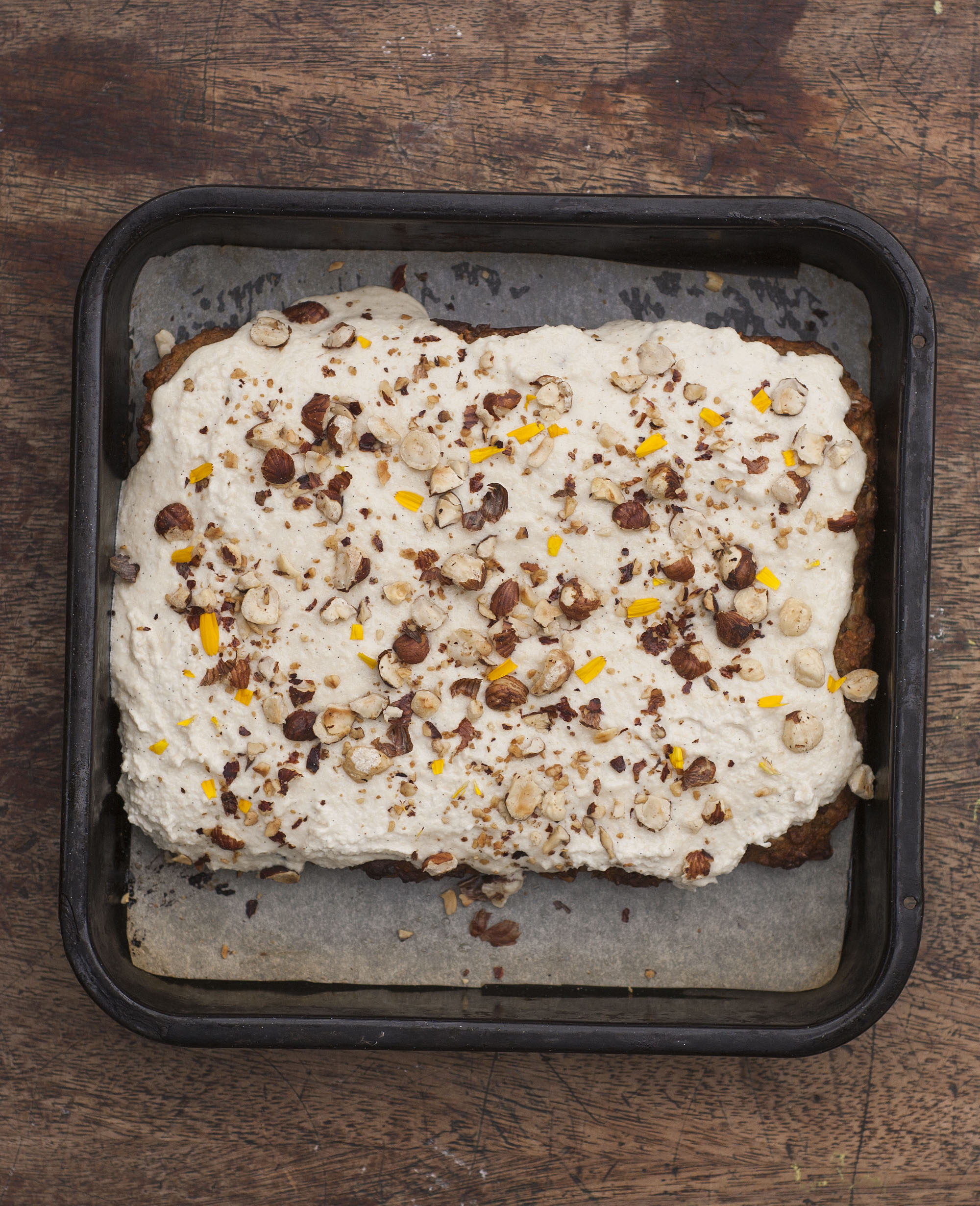 Carrot Cake Squares with coconut cashew frosting