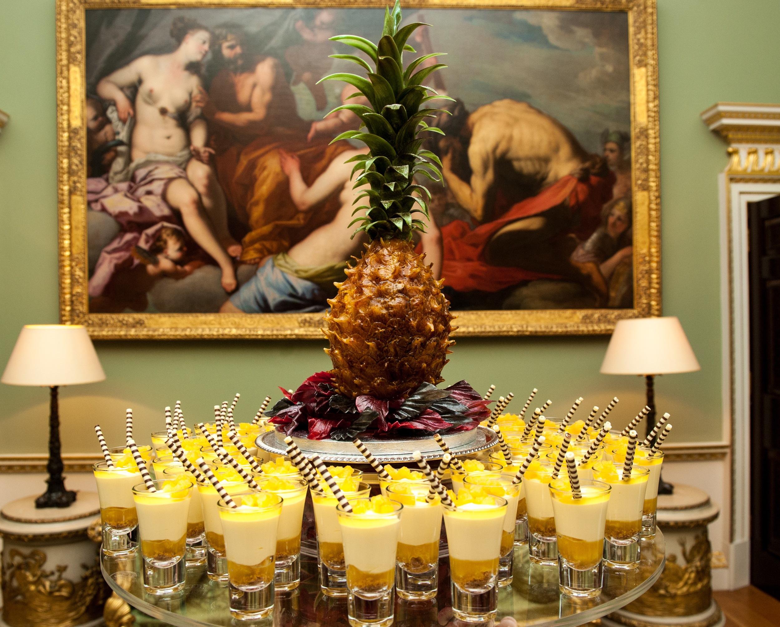 A magnificent spun sugar pineapple centrepiece