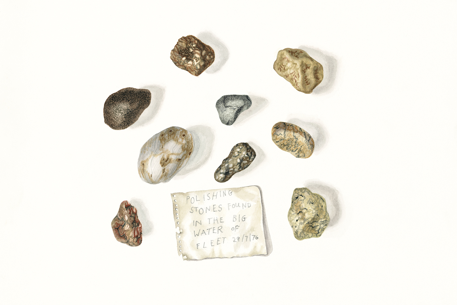 Pebbles found on the Kelton Steps 30.7.76 (collection of Duncan Matthews), 2010, watercolour on paper