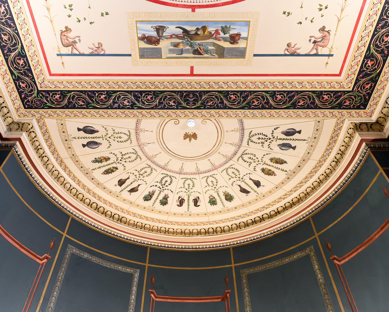 Cieling of the Numismatic Museum, which houses one of the largest collections of coins, ancient and modern, in the world. Founded in 1838