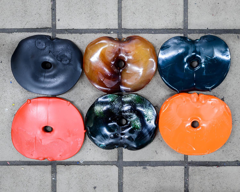 Coloured vinyl pucks before being pressed