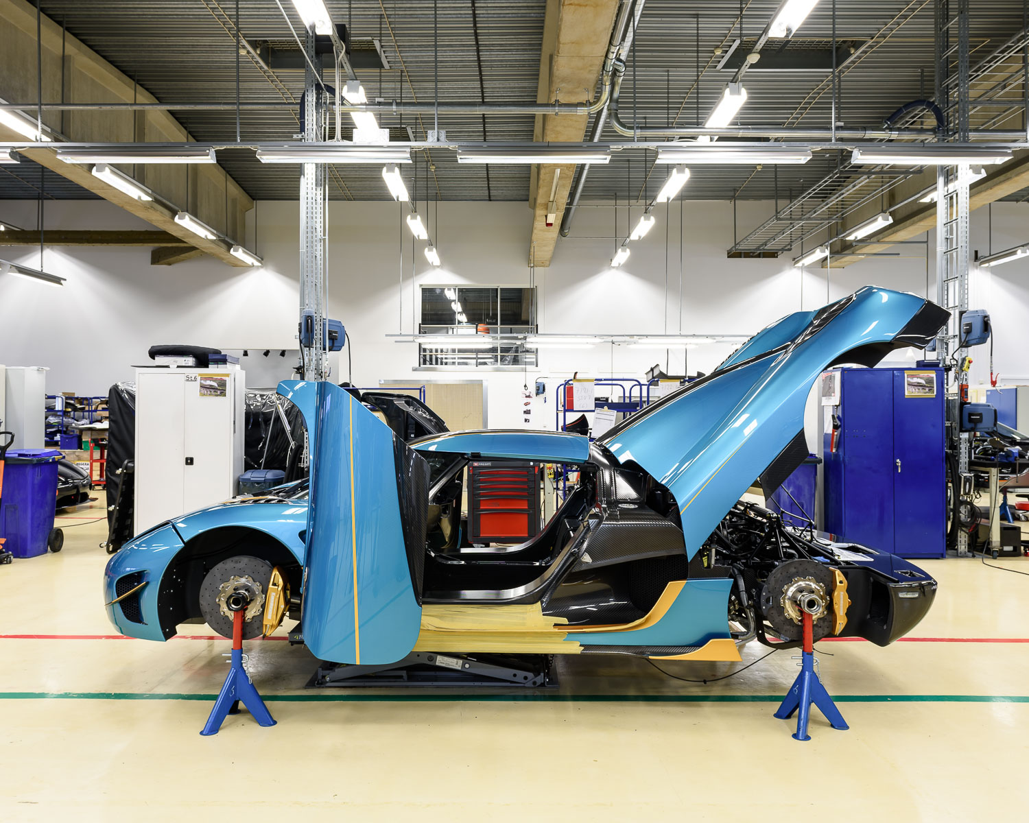 A car on the production line, towards the end of the process.