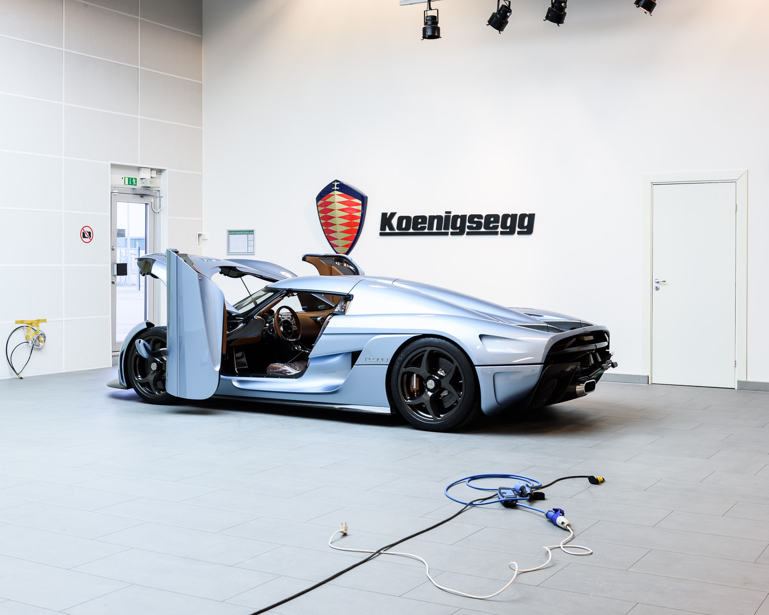 A Regera car ready to be tested.
