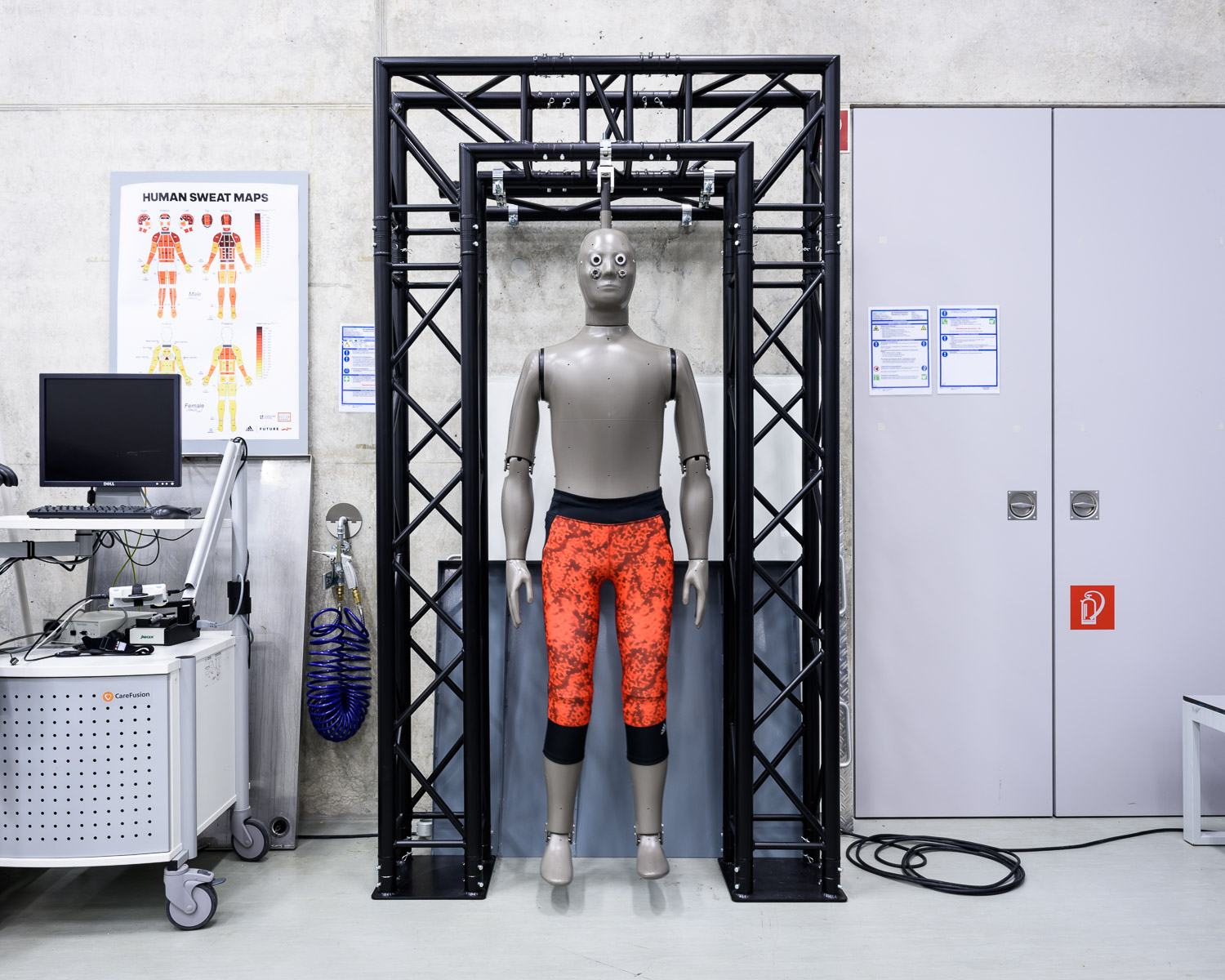 """Newton"" the thermal mannequin. Newton simulates walking movement, gets hot and sweats in order to test fabrics and materials in different conditions at the Future Sports Science Lab at adidas' headquarters in Herzogenaurach."