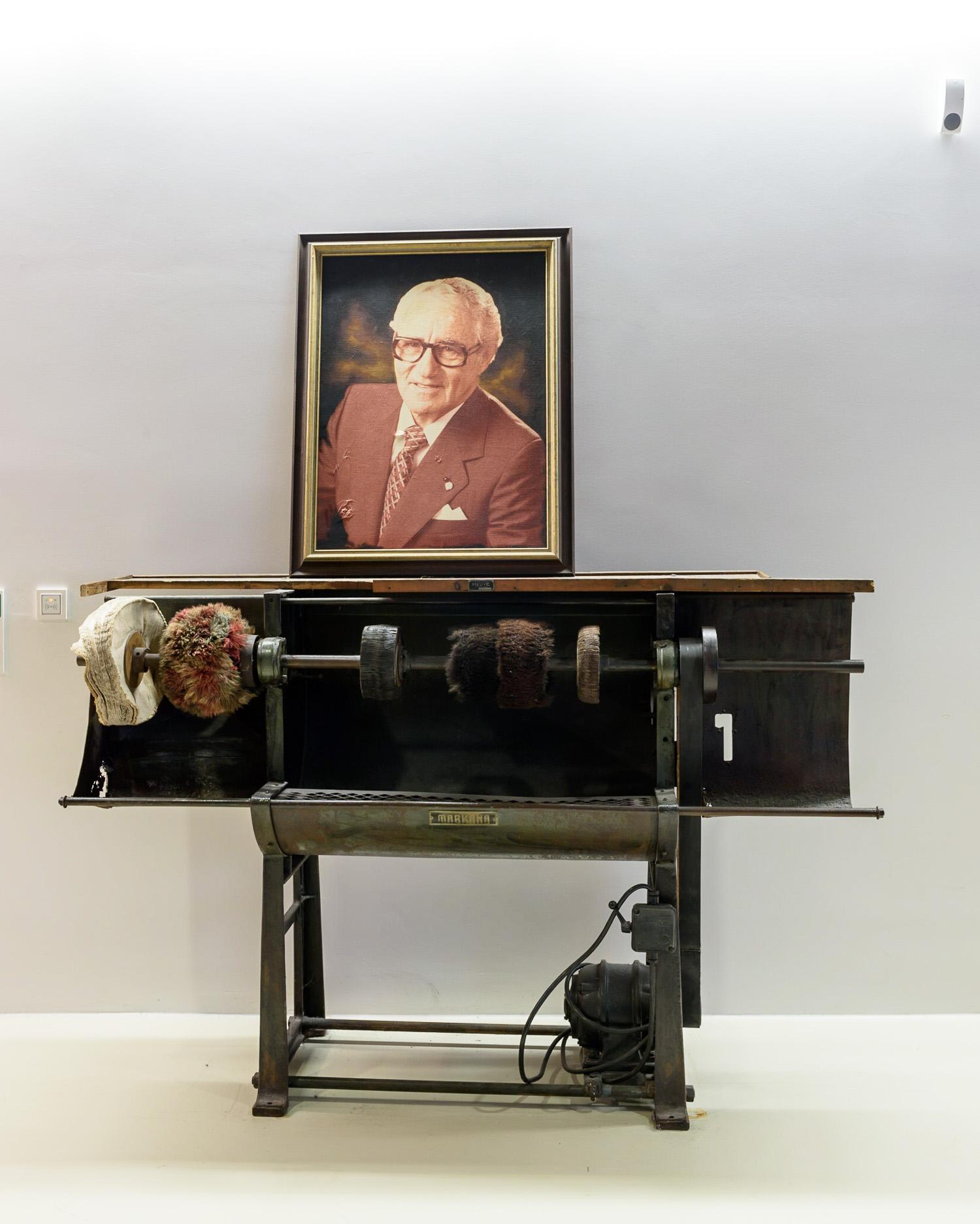 A portrait of Adi Dassler at the headquarters in Herzogenaurach
