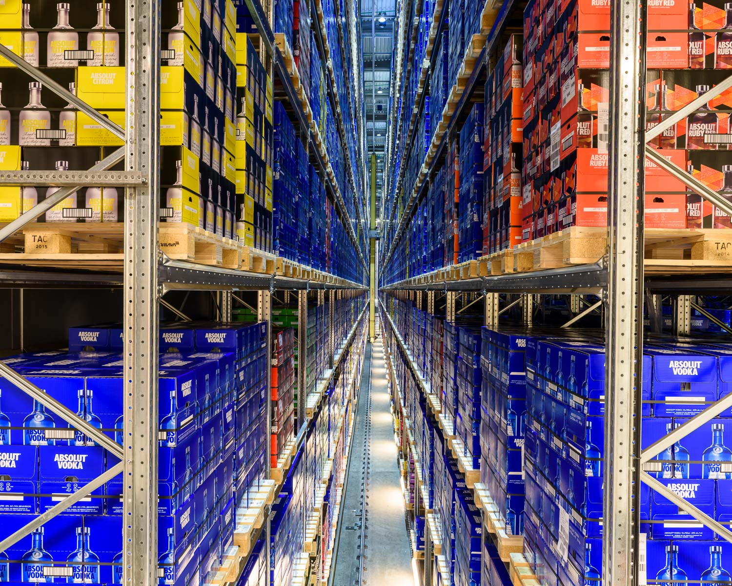 The 11 story high Absolut distribution warehouse in Åhus, Sweden, which contains up to 13 million bottles