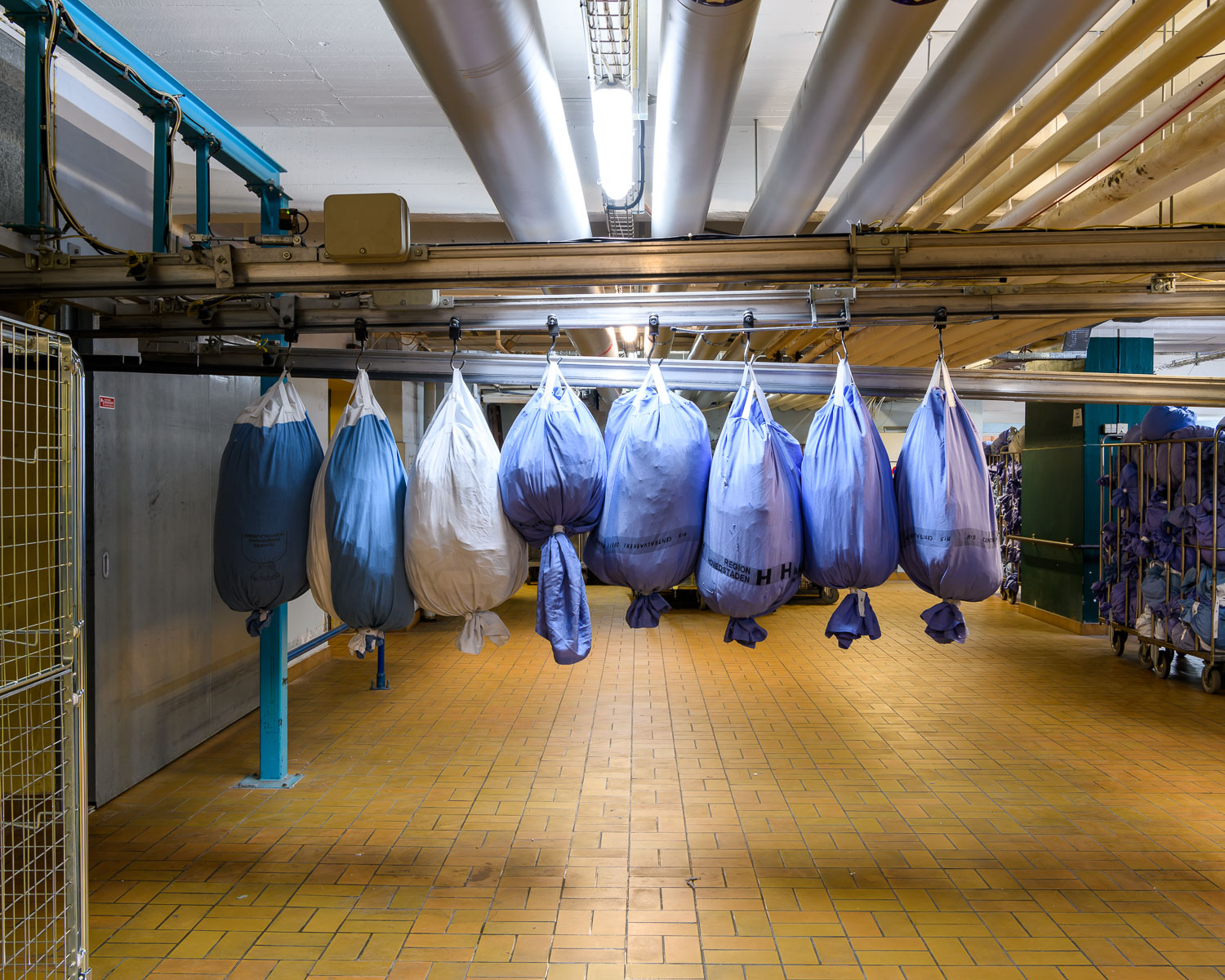The soiled laundry bags are hung