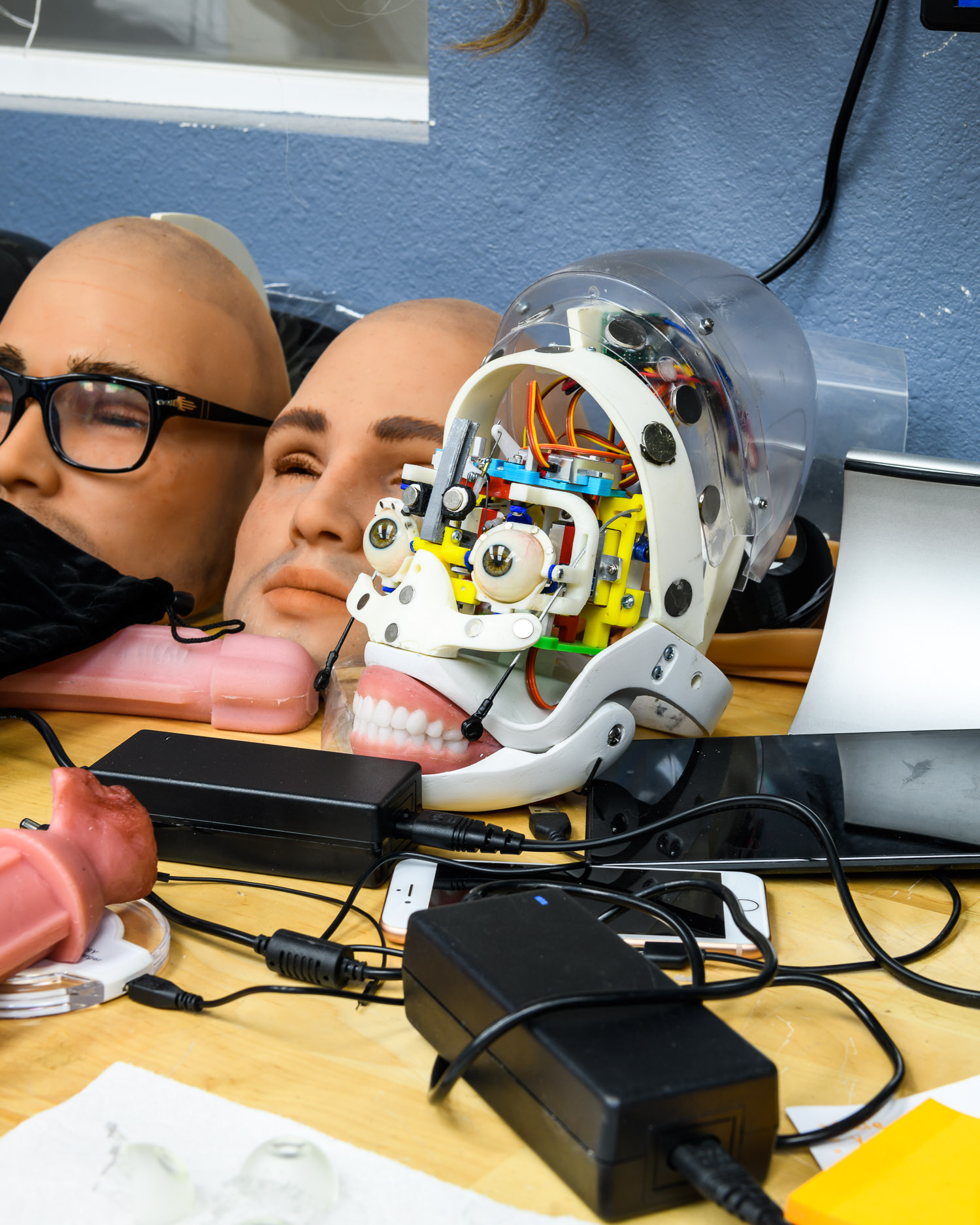A robotic head at the RealDoll robot workshop in San Marcos, California.