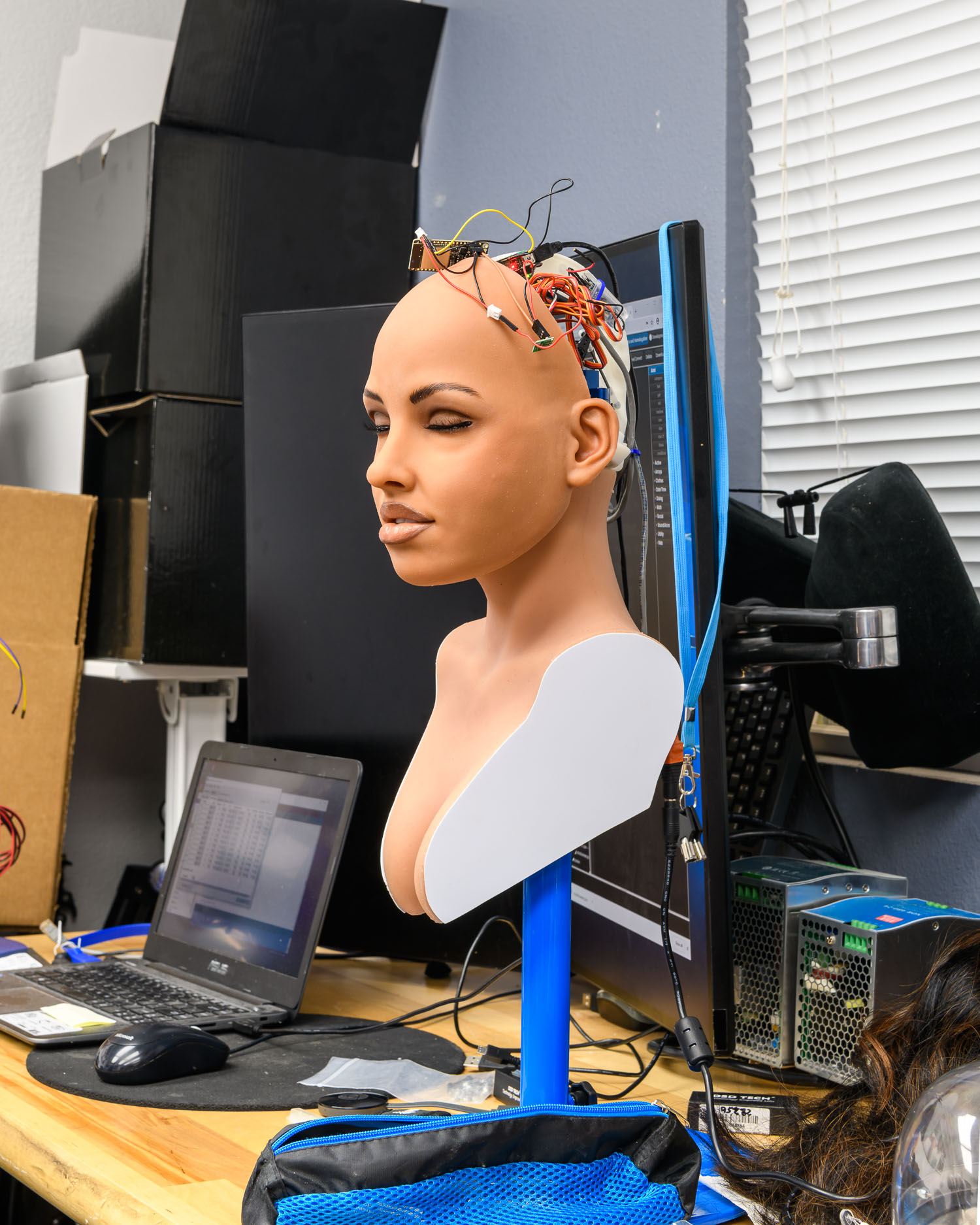 A robotic head at the RealDoll robot workshop in San Marcos