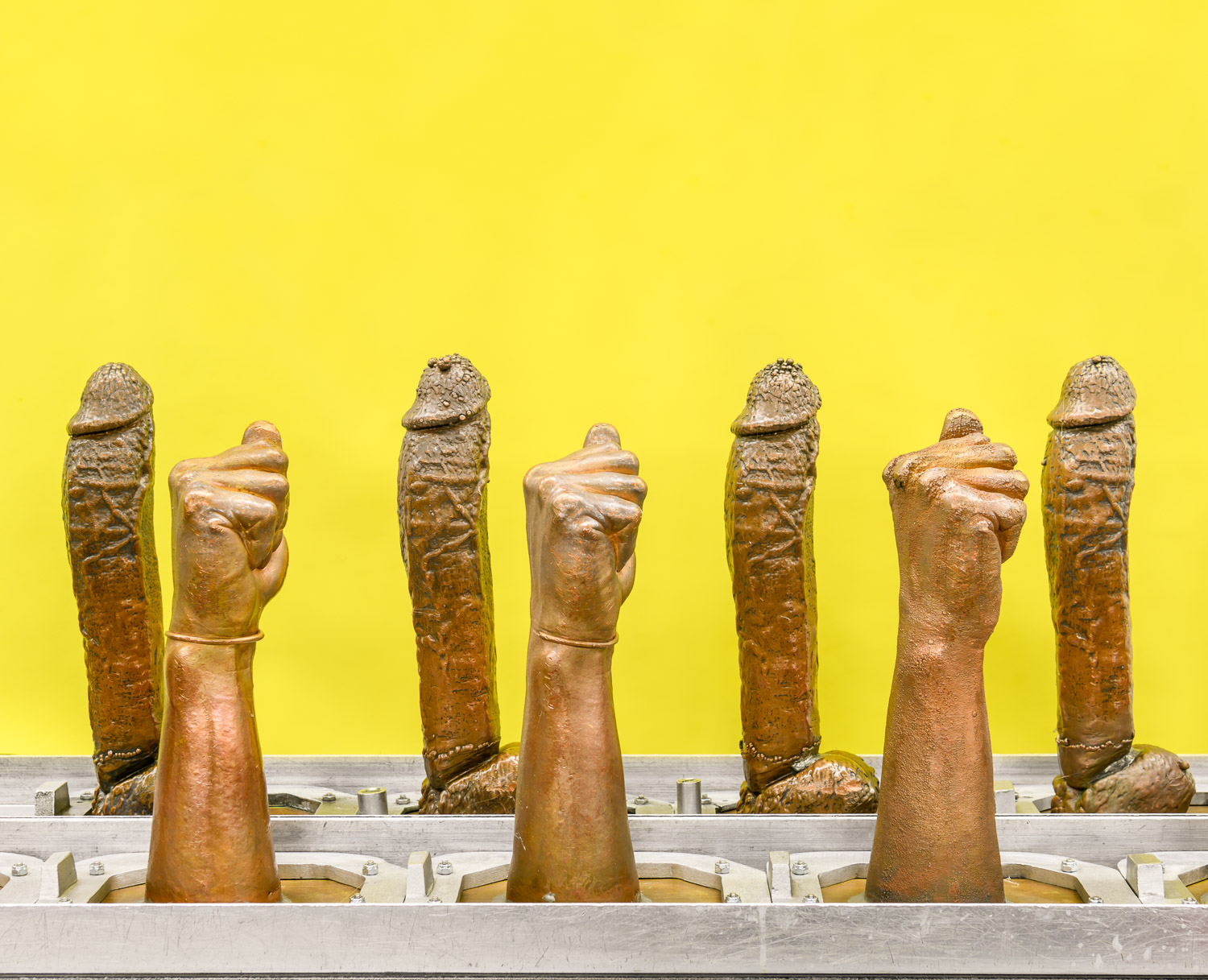 Moulds for rubber dildos on the factory floor of Doc Johnson, where 450 employees produce 75,000 sex toys per week.