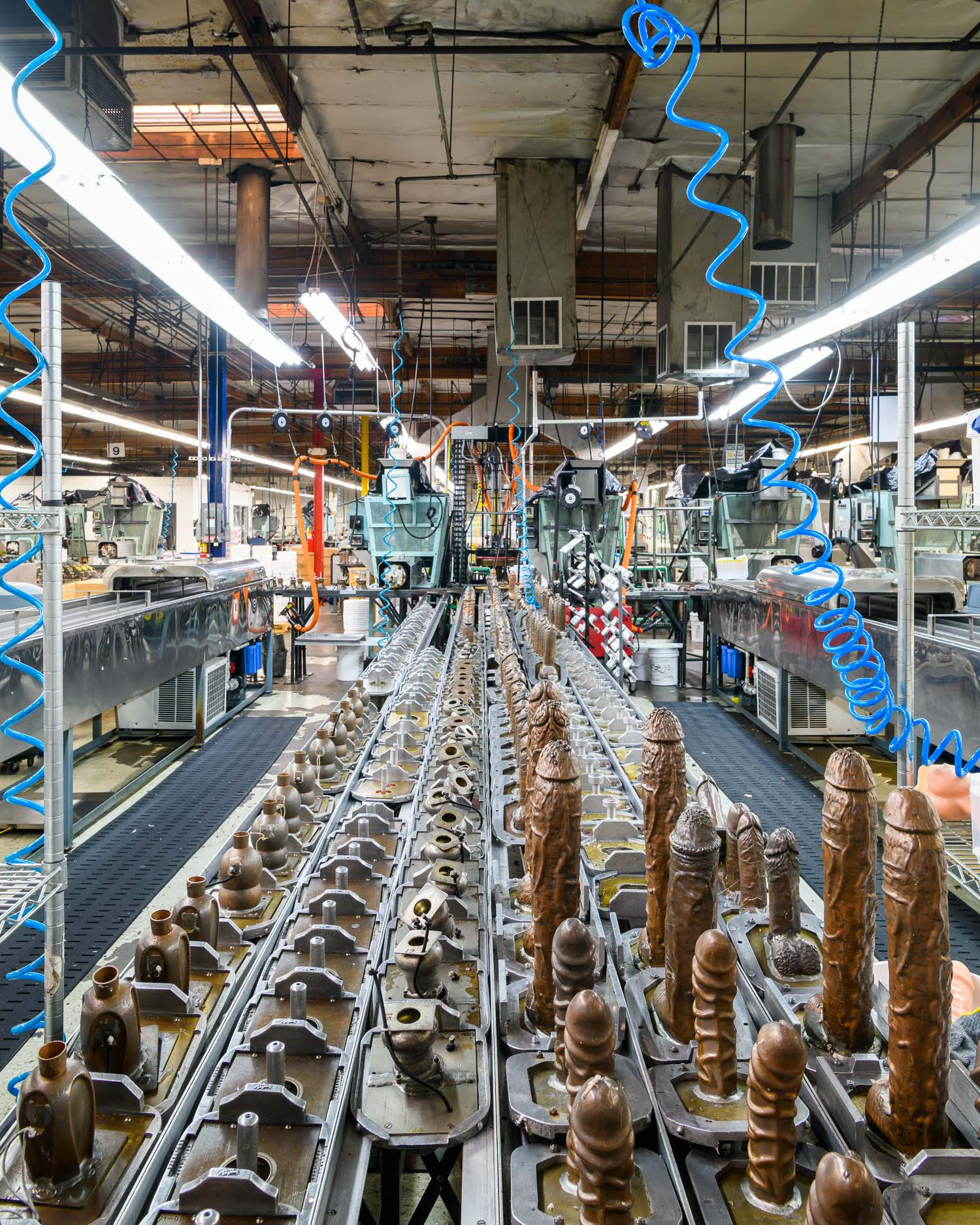 The factory floor at Doc Johnson in Los Angeles, where 450 employees produce 75,000 pleasure products per week