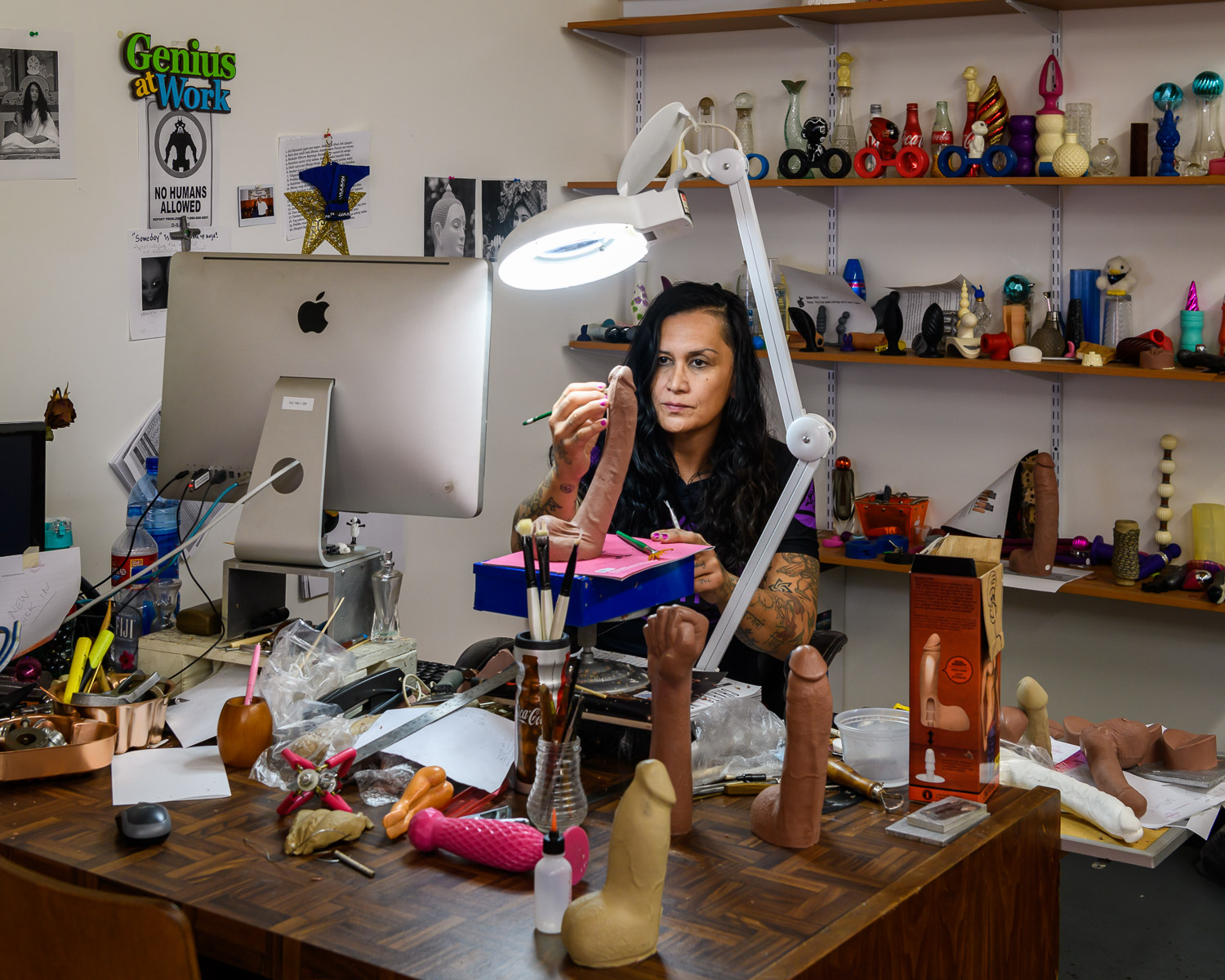 "Anjani Hunaman, the Columbian artist that has sculpted the Doc Johnson sex toys for 20 years. ""Most of those pieces over there, I have done most of them by hand out of my imagination."""