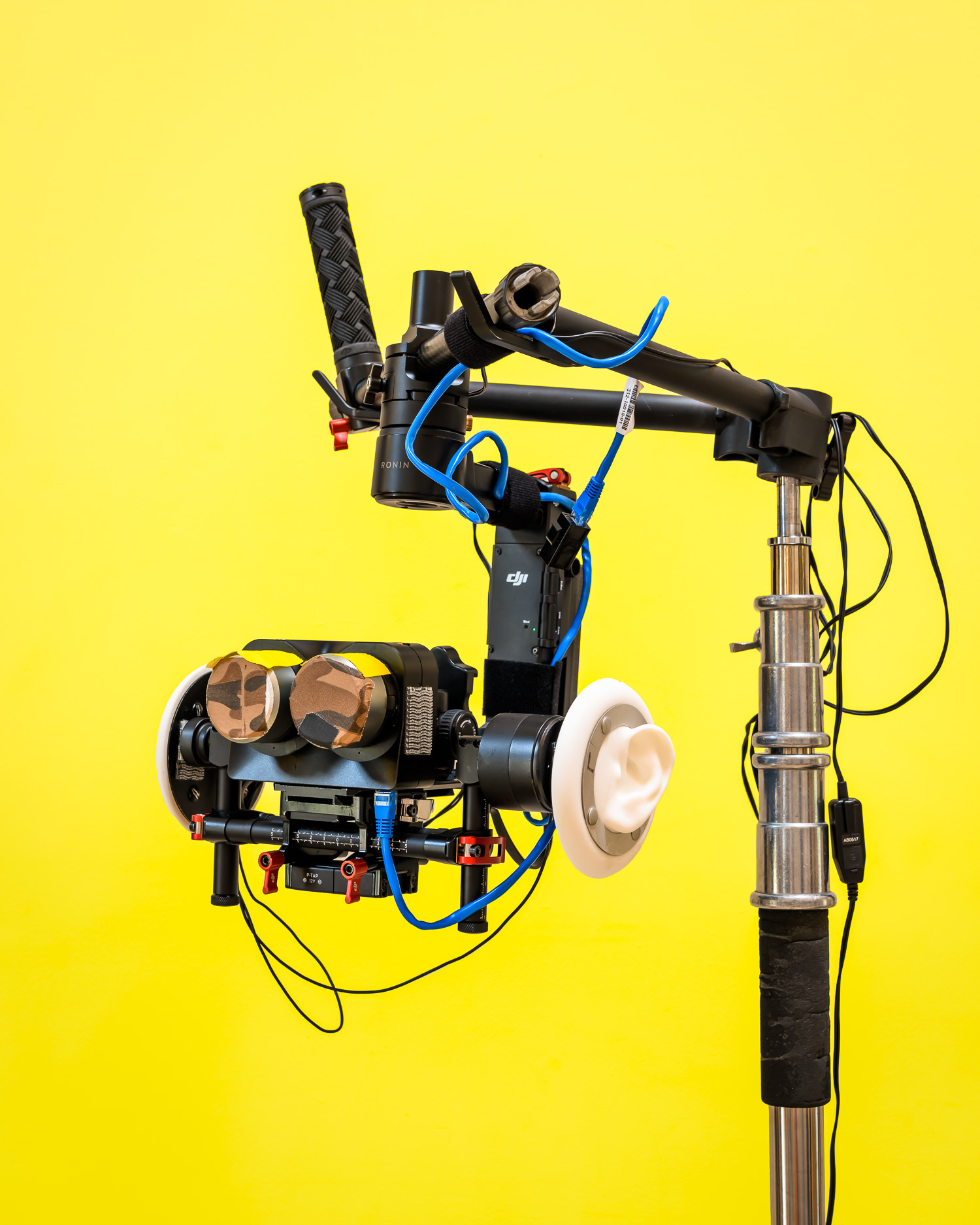"A specially modified VR camera used by VR Bangers. ""In order to keep up you gotta always be innovative, so we change our camera rigs almost every three four months because the technology is getting better ... our customers are really tech savvy and they're quality freaks, you know, they want to have the best quality so now we have 6K ... Next step is probably going to be 8K, 10K at some point. We can shoot at 10K, but nobody has devices that will actually play 10K."" Daniel Abamovich, CEO of VR Bangers"