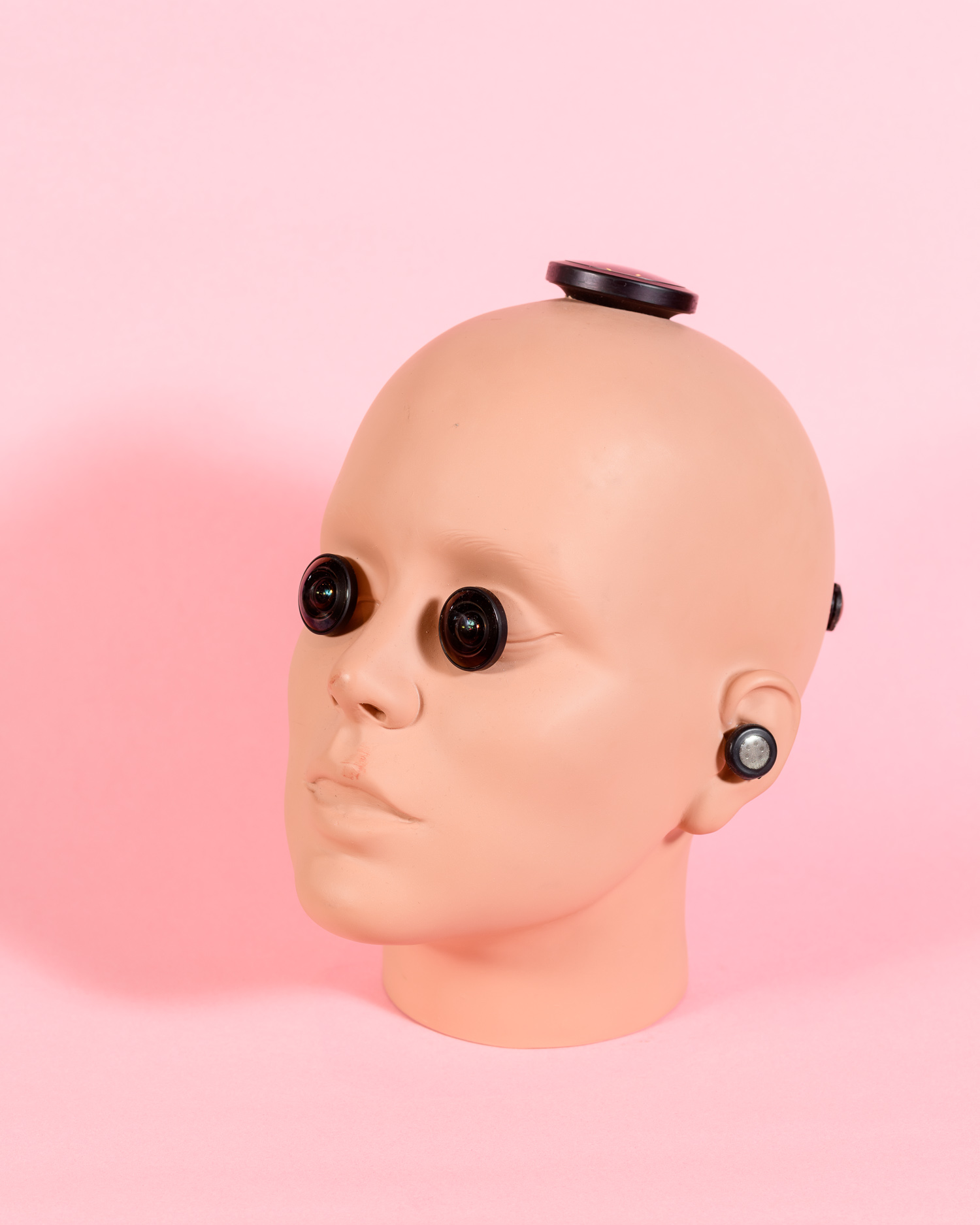 A prototype camera head produced by VR Bangers. The cameras and microphones installed in the head are intended to make the experience more natural for the female performers, who have to act directly to the camera for POV filming