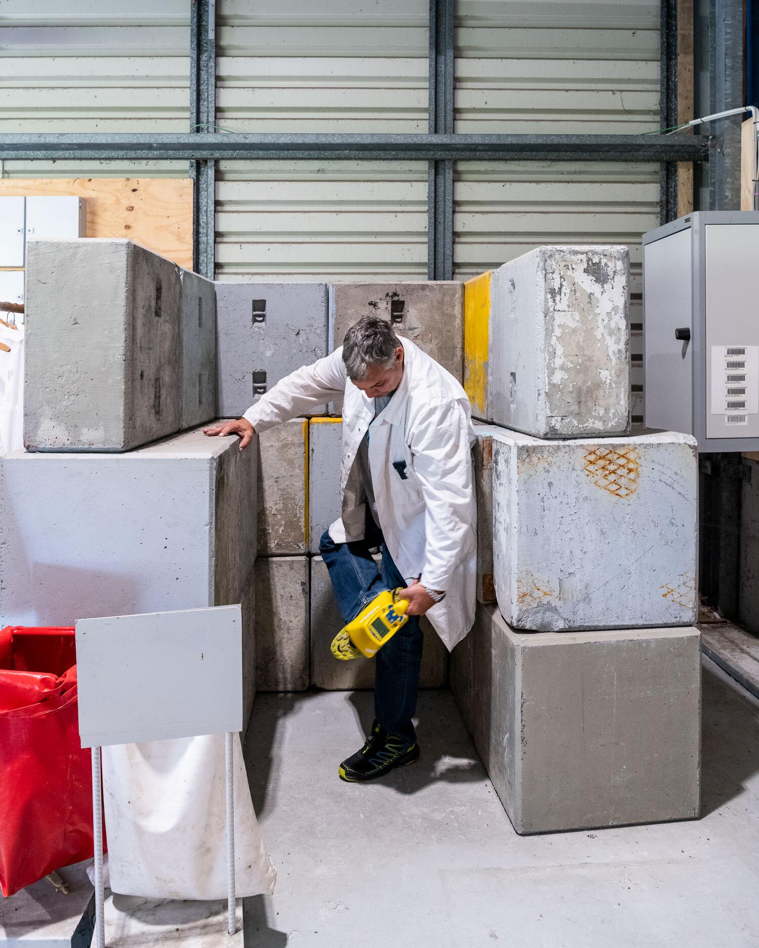 A contamination monitor checking radiation levels