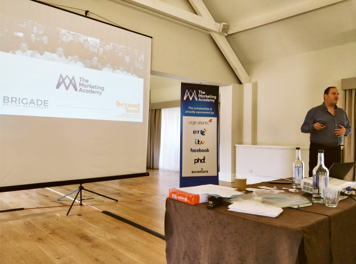 - Delivering a lecture on 'purpose' at The Marketing Academy