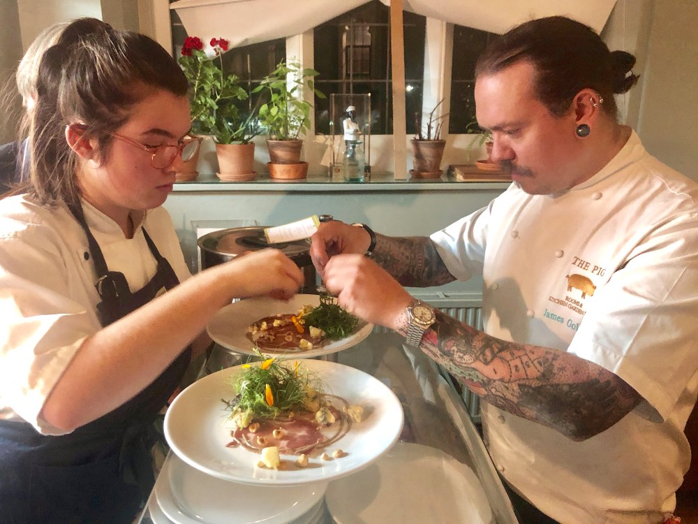 - James Golding and apprentice Freya preparing for the supper club