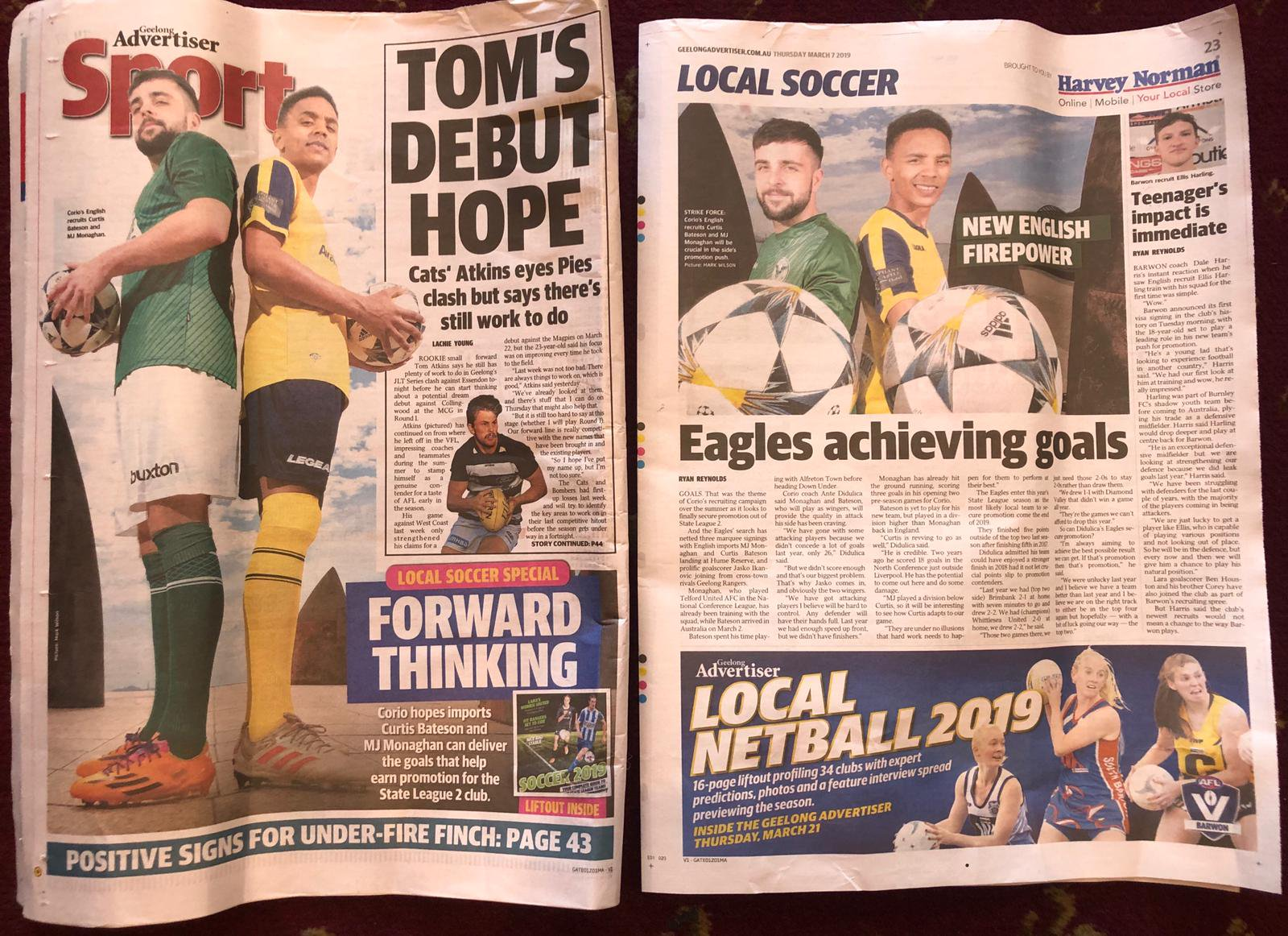 Bateson's arrival to play soccer in Australia was big news