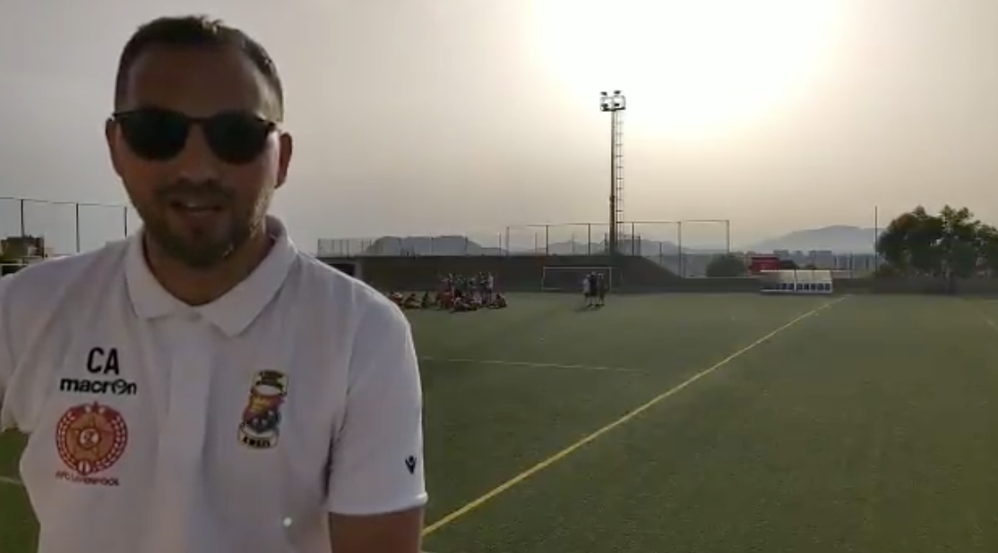 Chris Anderson interviewed after the Alicante City v AFC Liverpool match