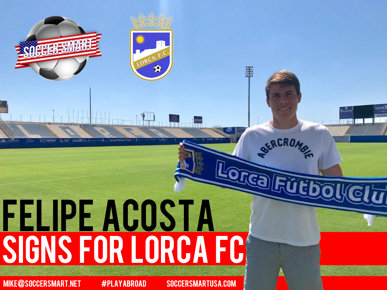 Soccer Smart player Felipe Acosta has signed for Lorca FC!