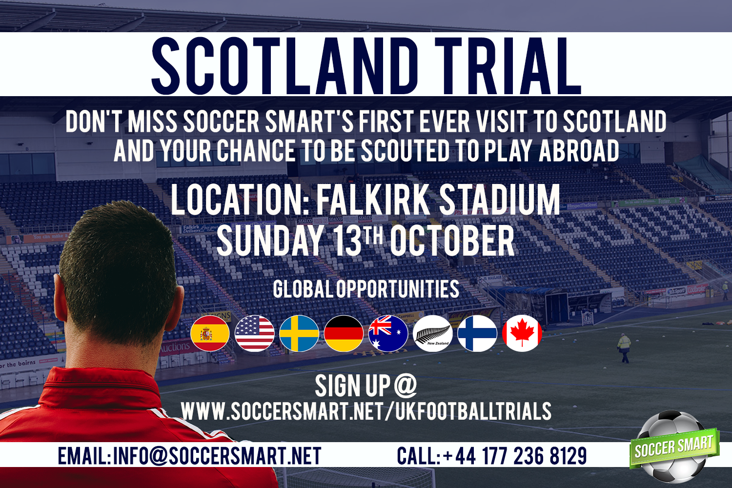 Don't miss the chance to play at the impressive Falkirk Stadium!