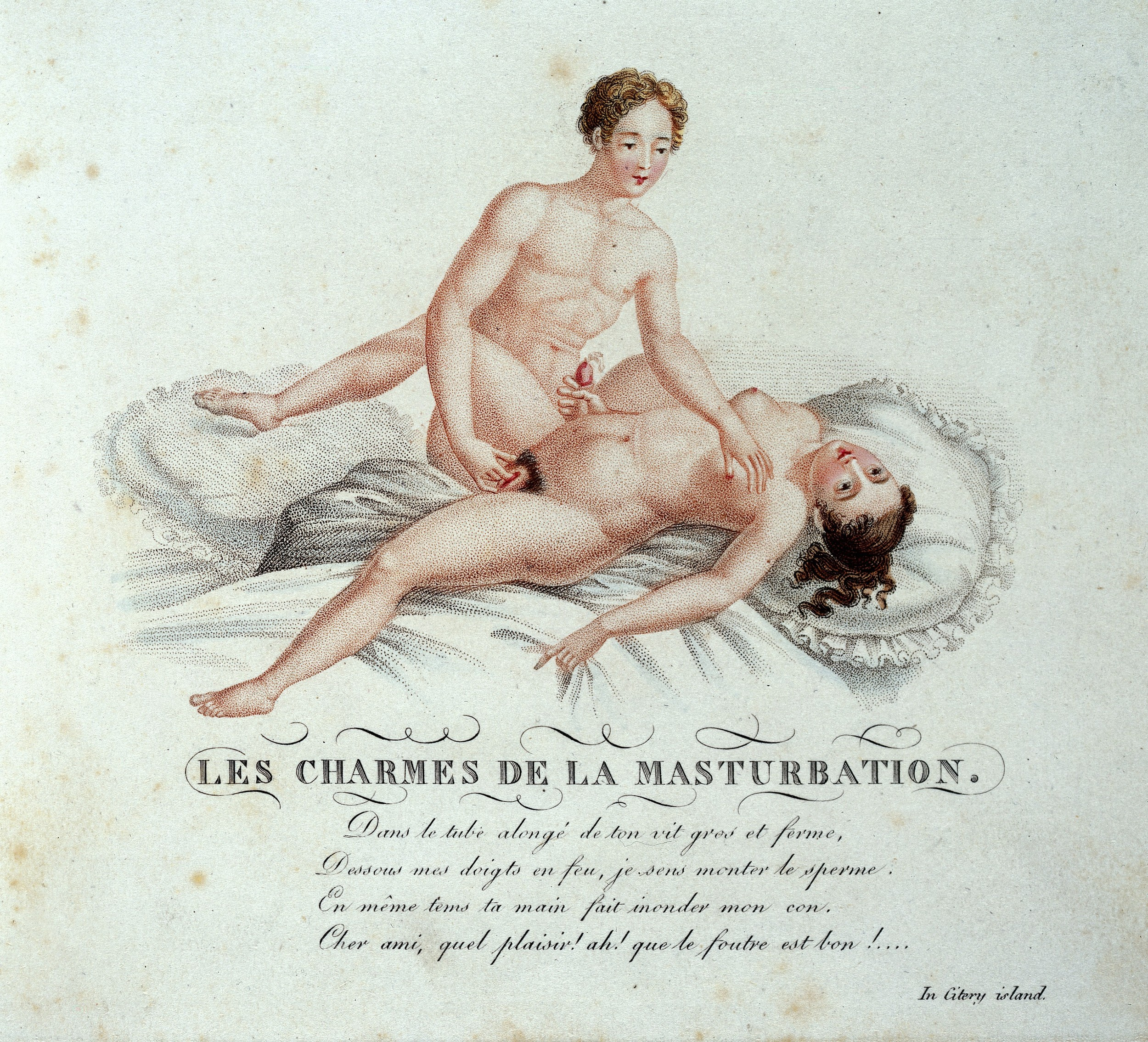 'Les charmes de la masturbation' Page from 'Invocation a l'amour, chant philosophique' (by 'A virtuoso of the good fashion') London, 1825 ©Wellcome Library, London