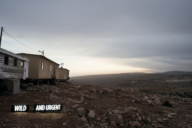 """WILD AND URGENT (i), Two on-location light boxes, Settler Houses, Israeli Settlement, West Bank, 2014, 28.5"""" x 40"""" and 48"""" x 72"""", digital c-print, from the series Facts On The Ground"""