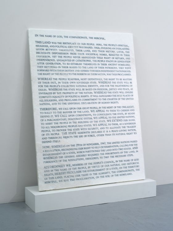 Tablet Untitled (Blended Israeli and Palestinian Declarations of Independence, abbreviated), 2012, blast-carved and lacquer filled inscriptions on custom treated sugar white marble, 42 1/2 x 57 1/2 x 1 1/4 inches
