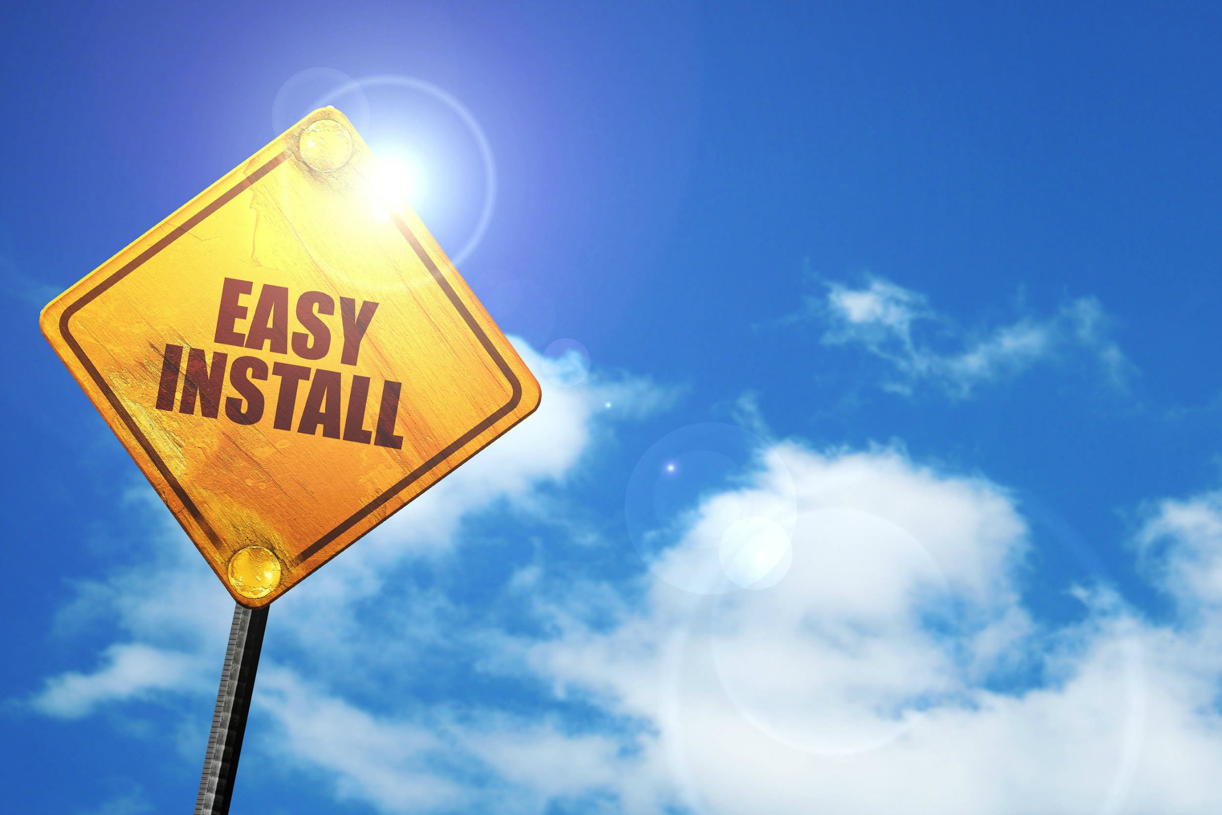 Street sign that says easy install