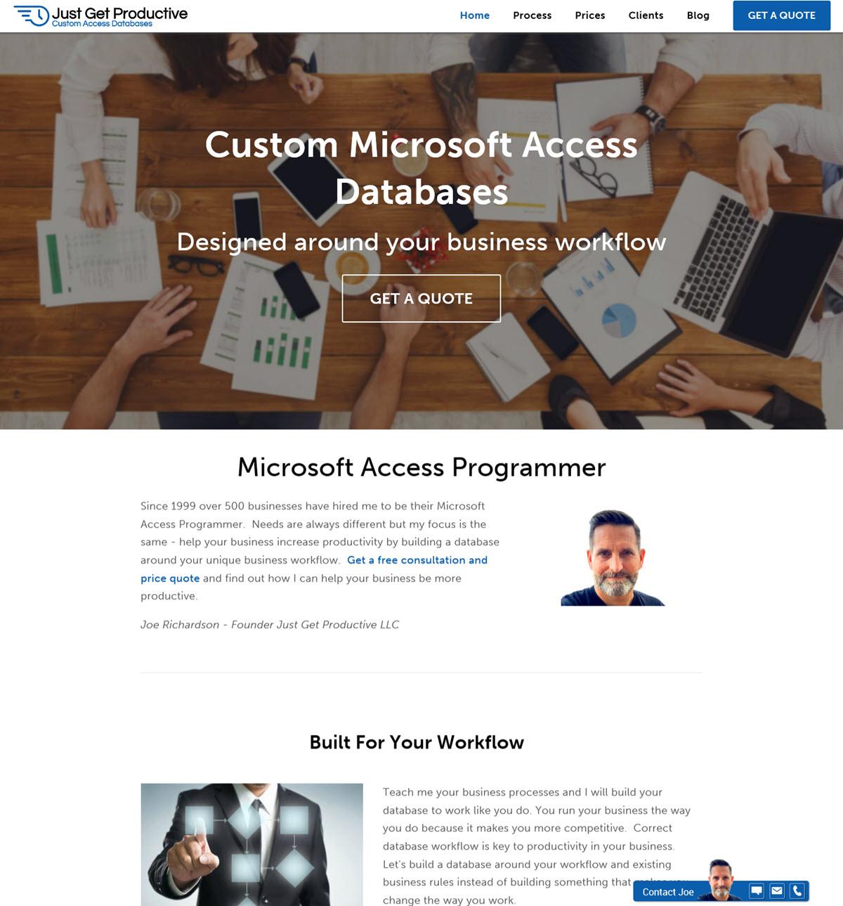 Screenshot of new website
