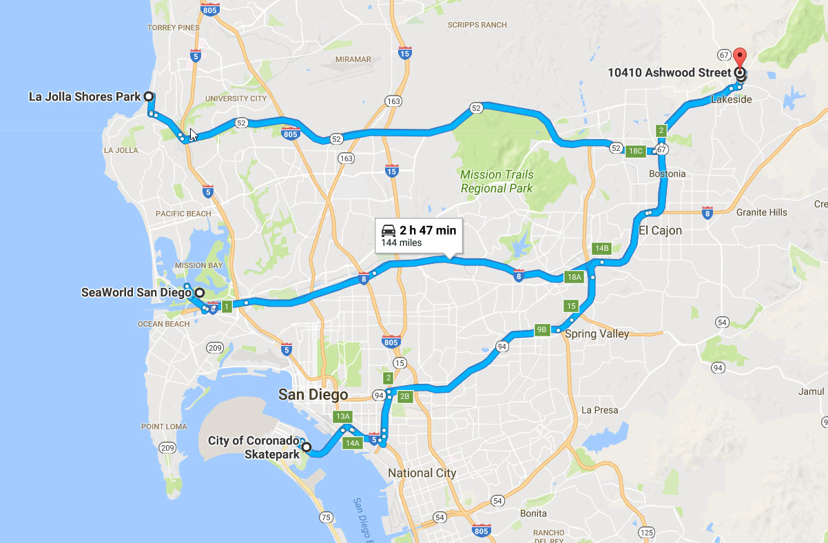 Map of 3 routes from my high school in Lakeside to points of interest in San Diego california