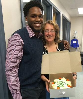Ruth and staff member Michael Randall celebrate their birthdays.