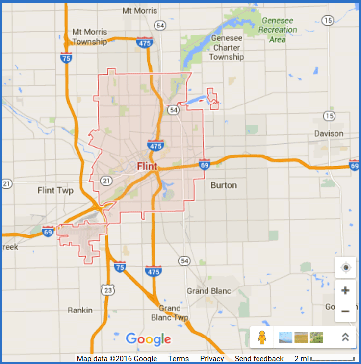 Map of the City of Flint. 2016 Google.